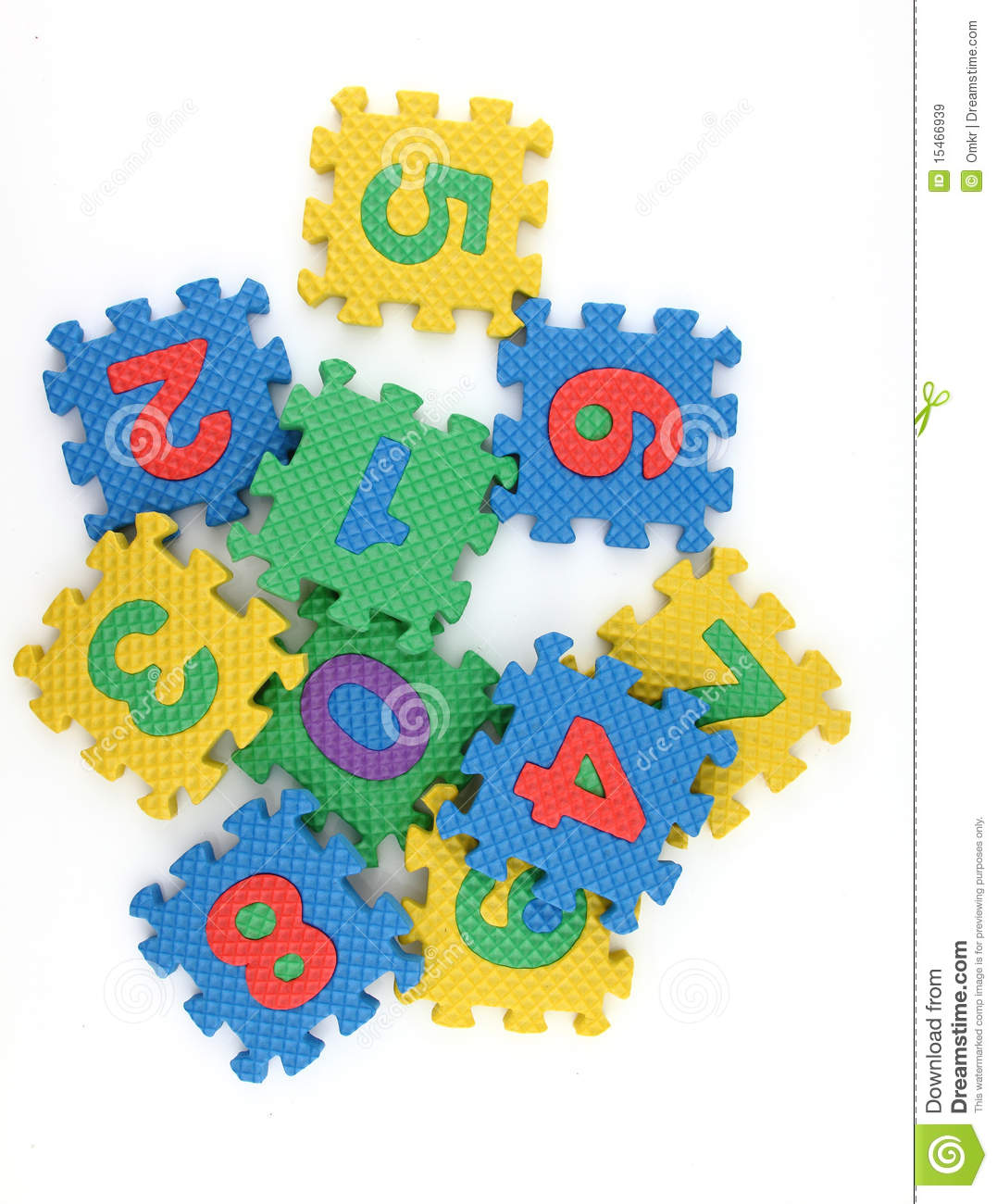 Numbers puzzle scattered on white background