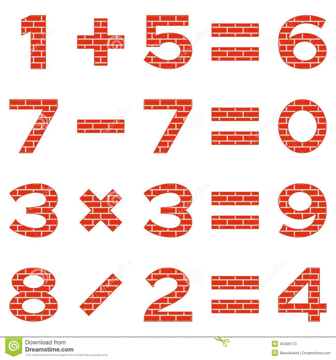Numbers Set Brick Stock Vector Image 40490173