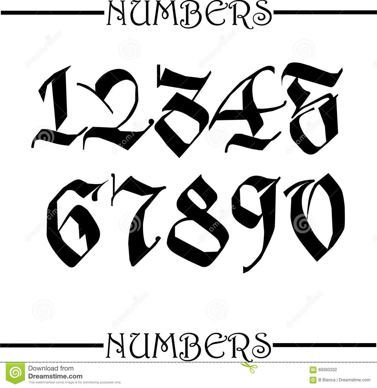 Gothic Calligraphy Numbers Images