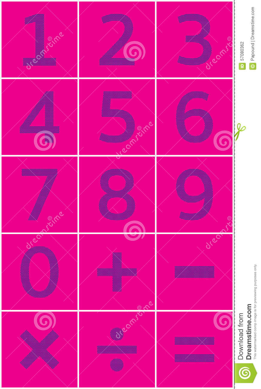 Numbers Set And Mathematical Signs Of Addition