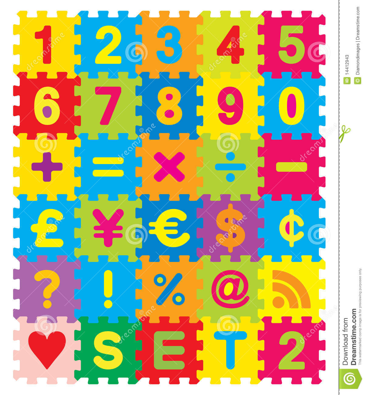 Numbers And Symbols Puzzle Stock Photos Image 14412943