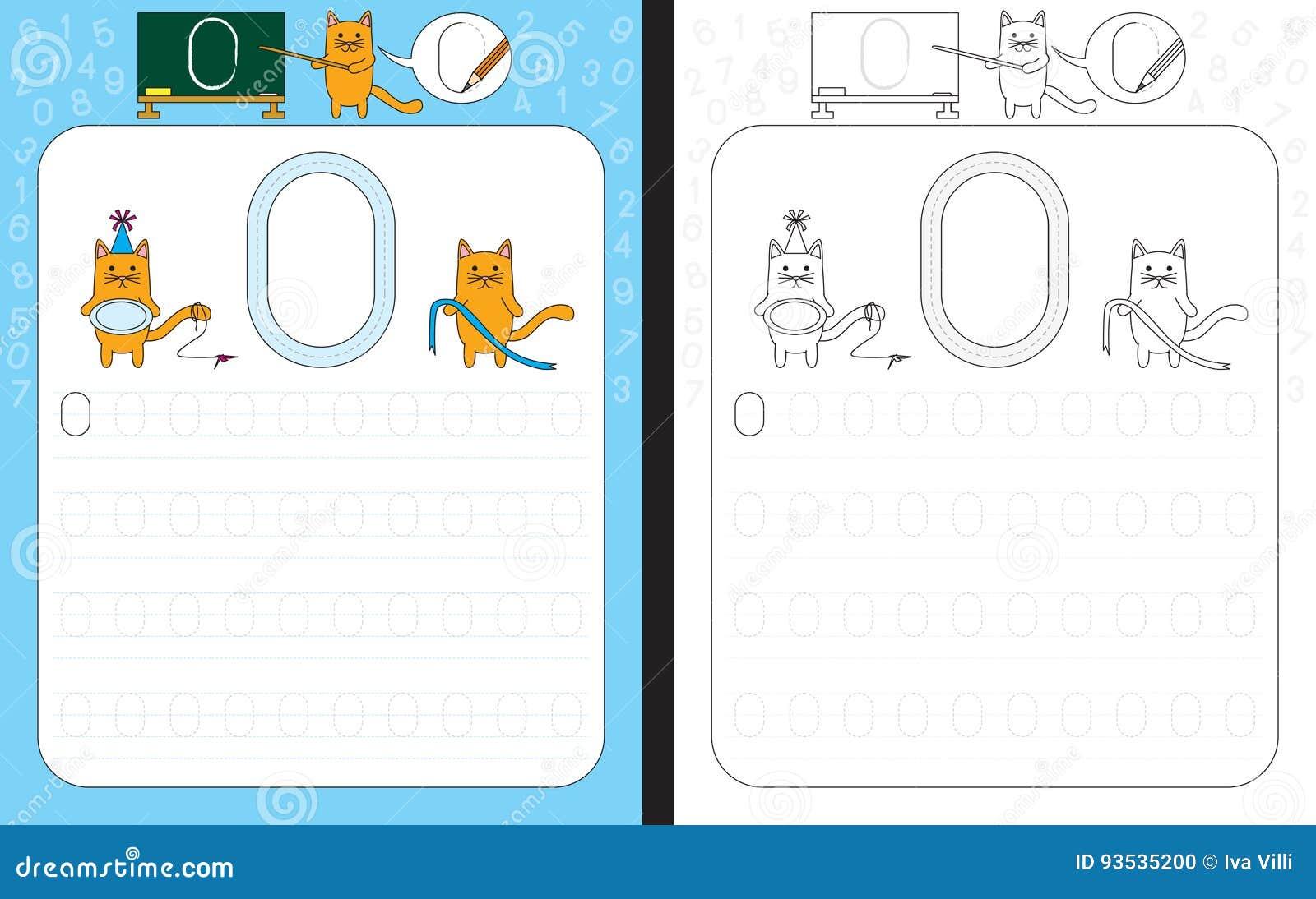 Numbers Tracing Worksheet Stock Vector Illustration Of School