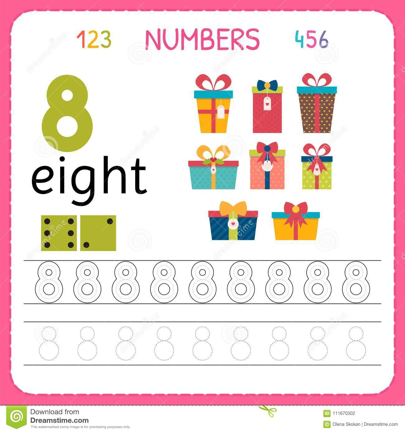 Numbers Tracing Worksheet For Preschool And Kindergarten Writing Number Eight Exercises Kids