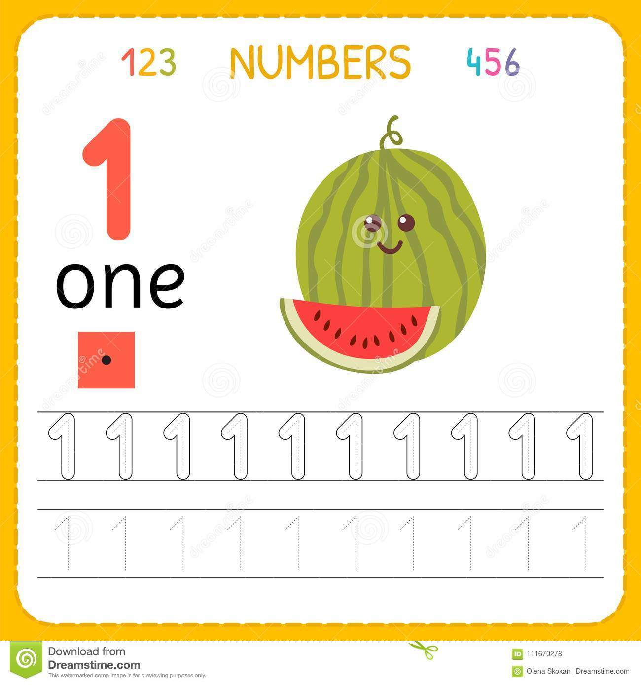 Numbers Tracing Worksheet For Preschool And Kindergarten Writing Number One Exercises Kids