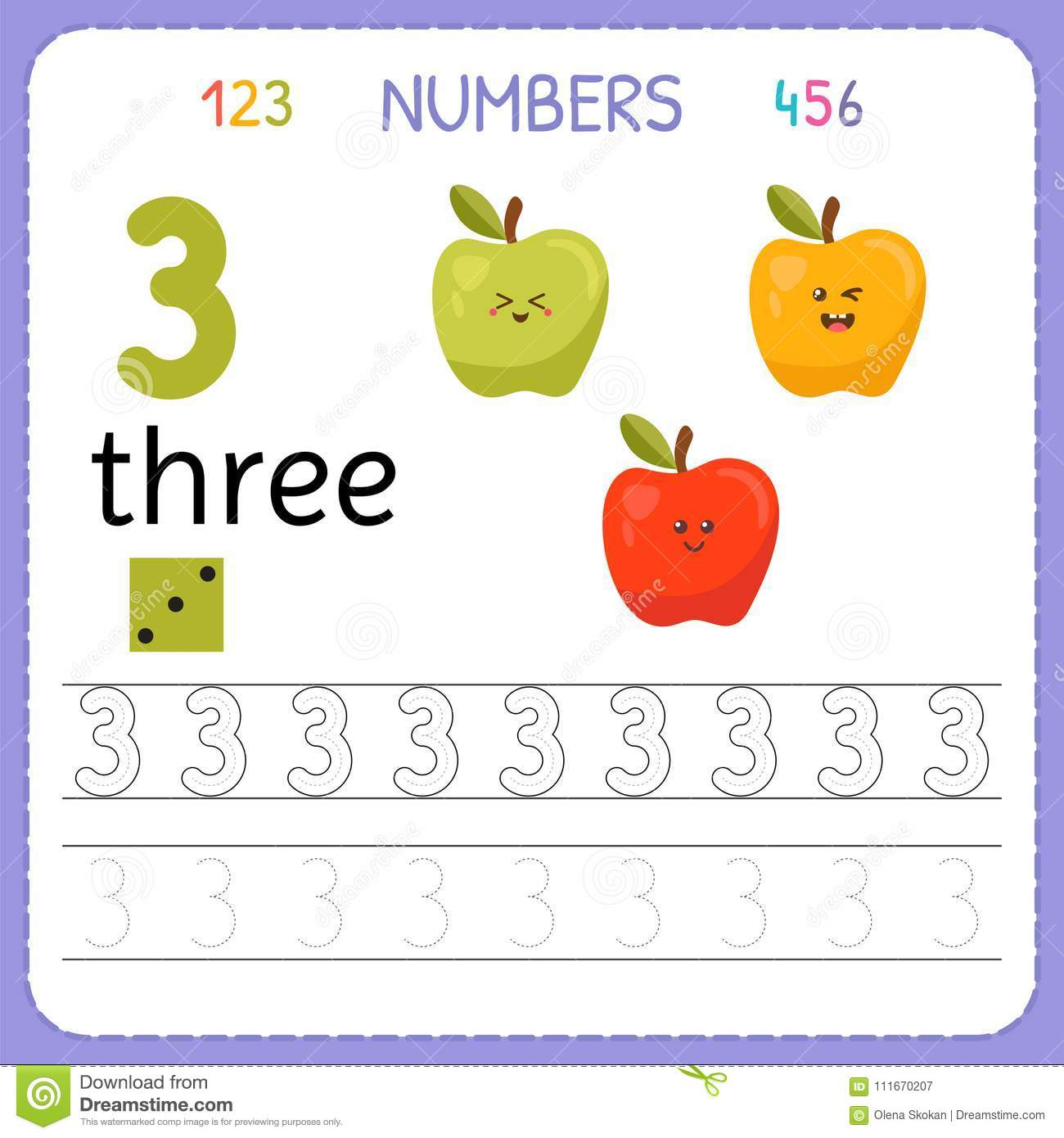 Download Numbers Tracing Worksheet For Preschool And Kindergarten Writing Number Three Exercises Kids