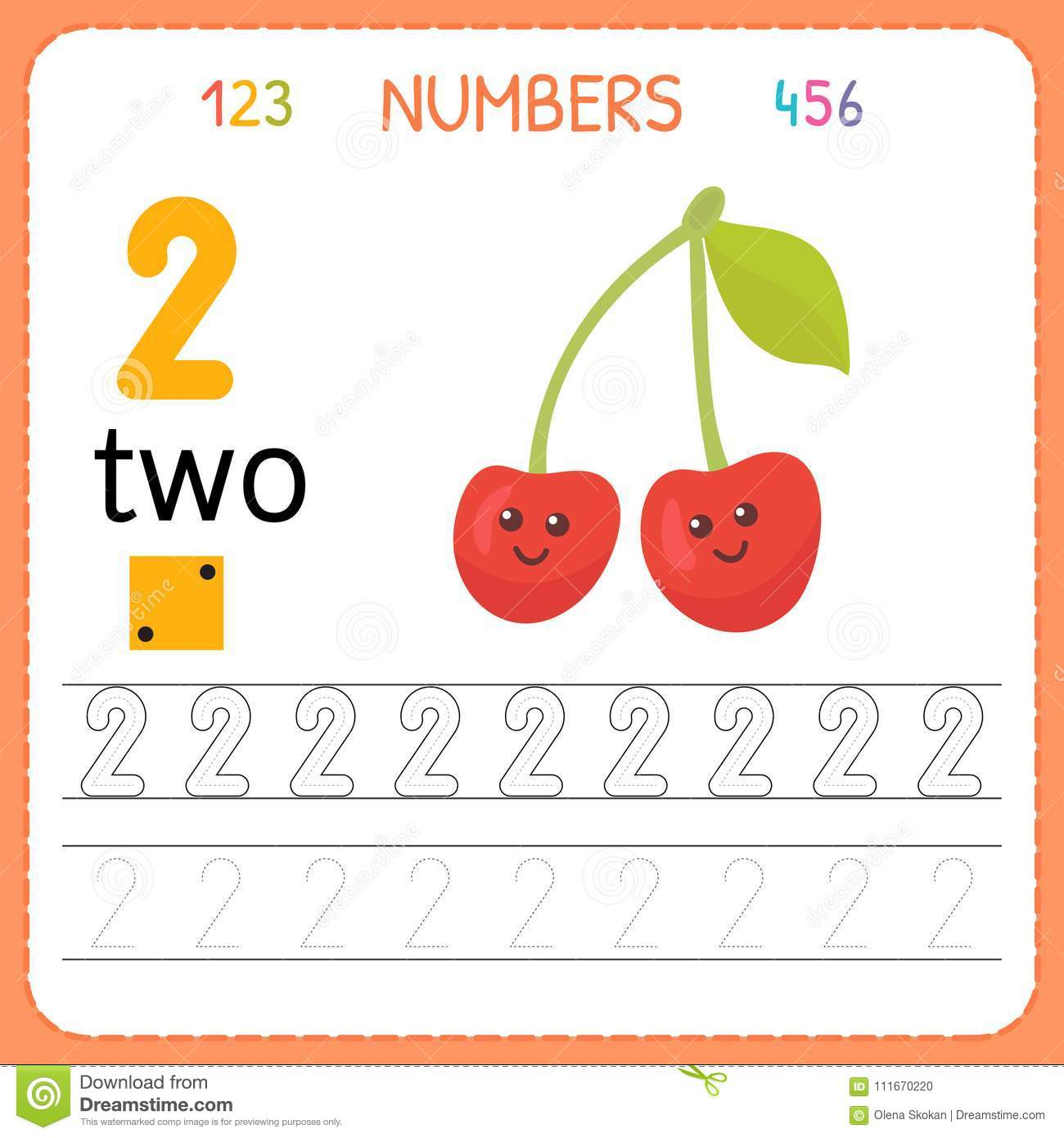 Download Numbers Tracing Worksheet For Preschool And Kindergarten Writing Number Two Exercises Kids