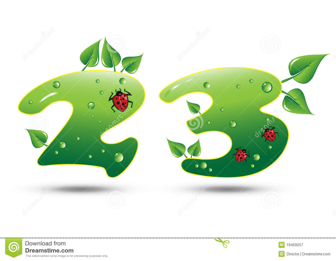 Numbers Two and Three Green Nature Concept