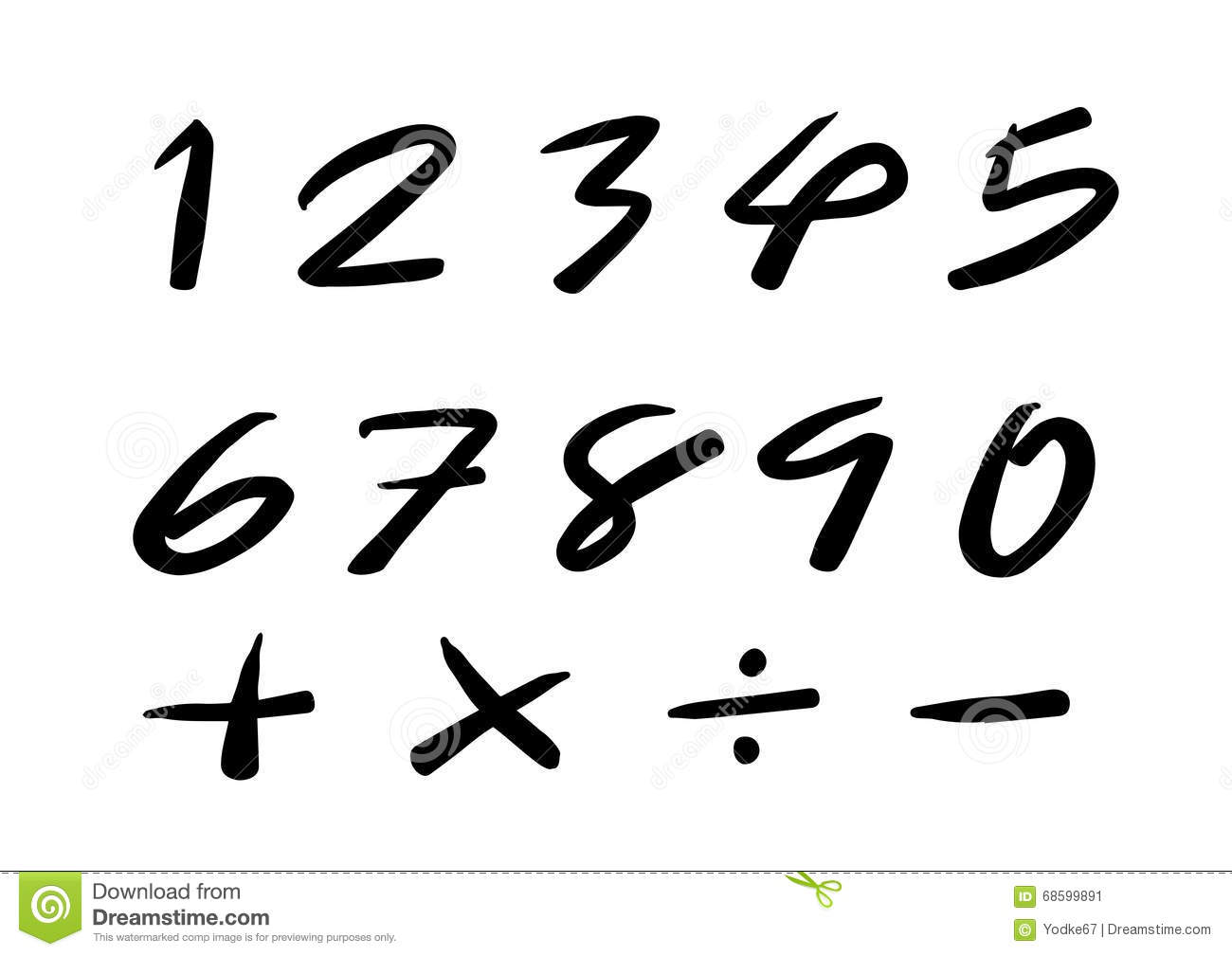 Download Numbers 0 9 Written With A Brush Stock Image