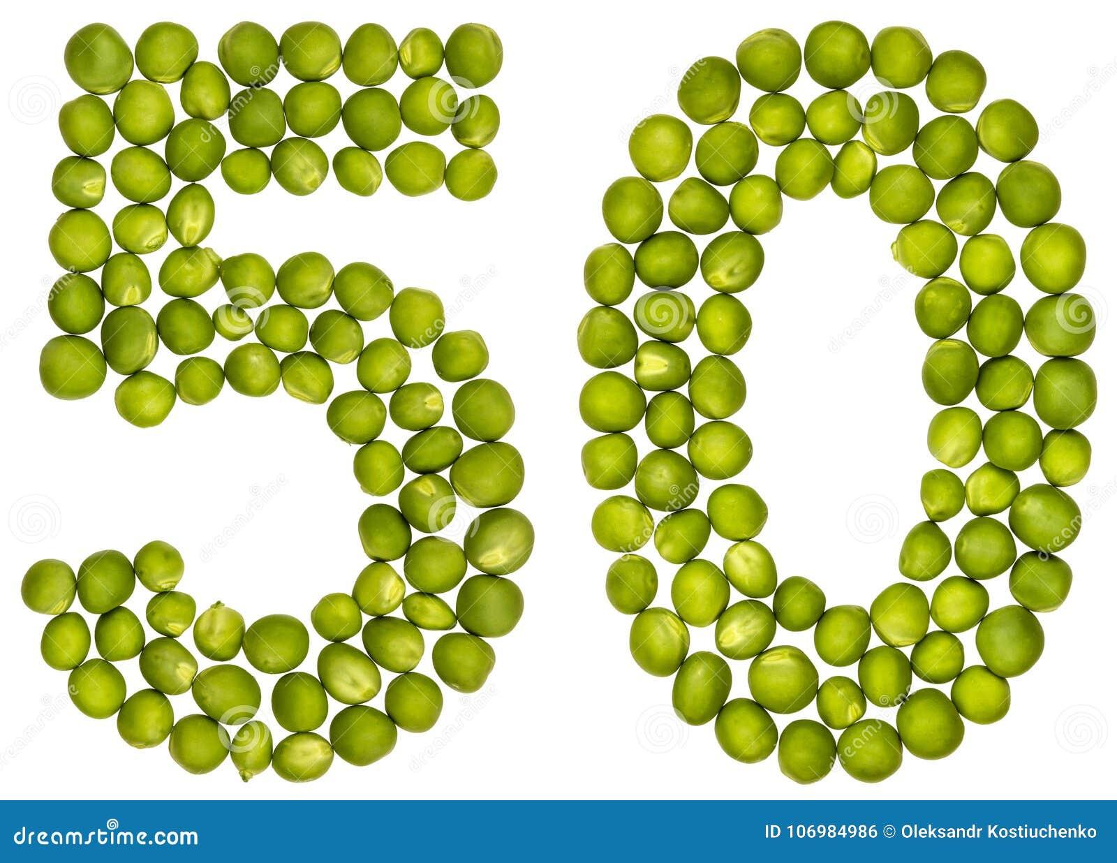 Numeral árabe 50, cinqüênta, das ervilhas verdes, isoladas no CCB branco