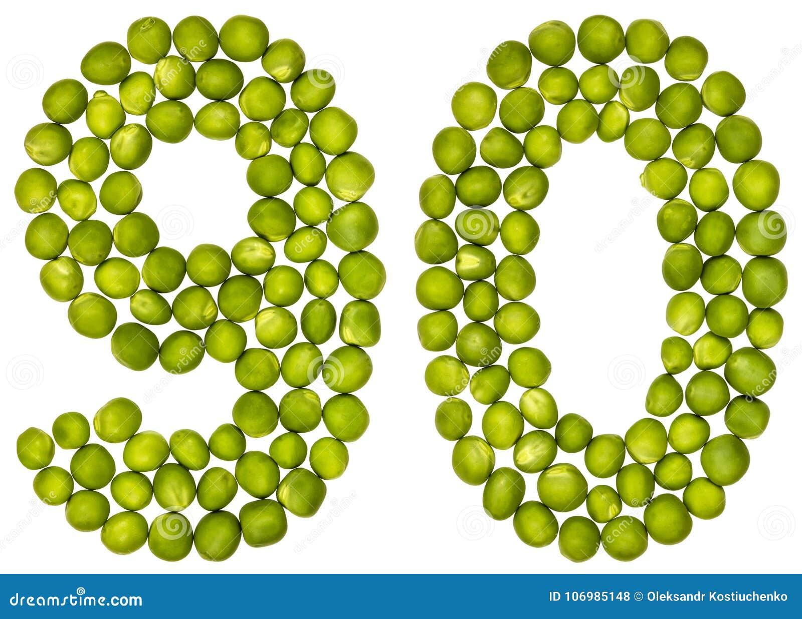 Numeral árabe 90, noventa, das ervilhas verdes, isoladas nos vagabundos brancos