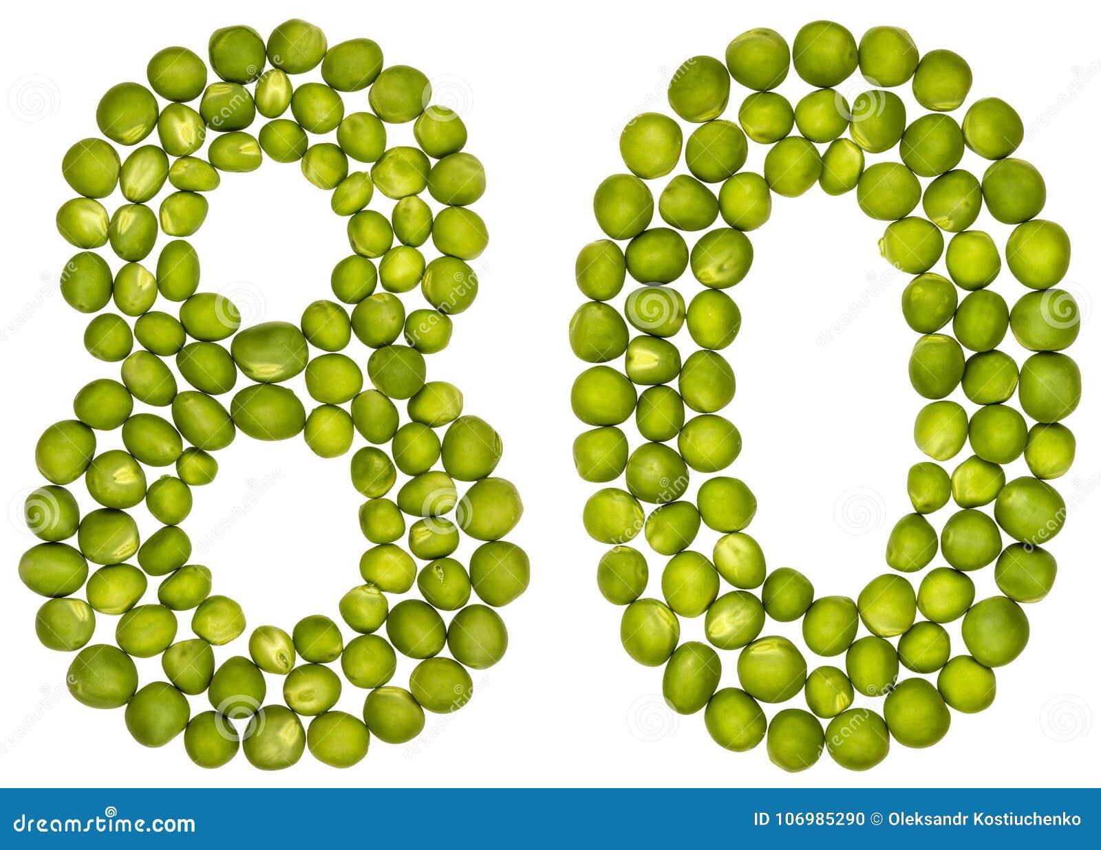 Numeral árabe 80, oitenta, das ervilhas verdes, isoladas nos vagabundos brancos