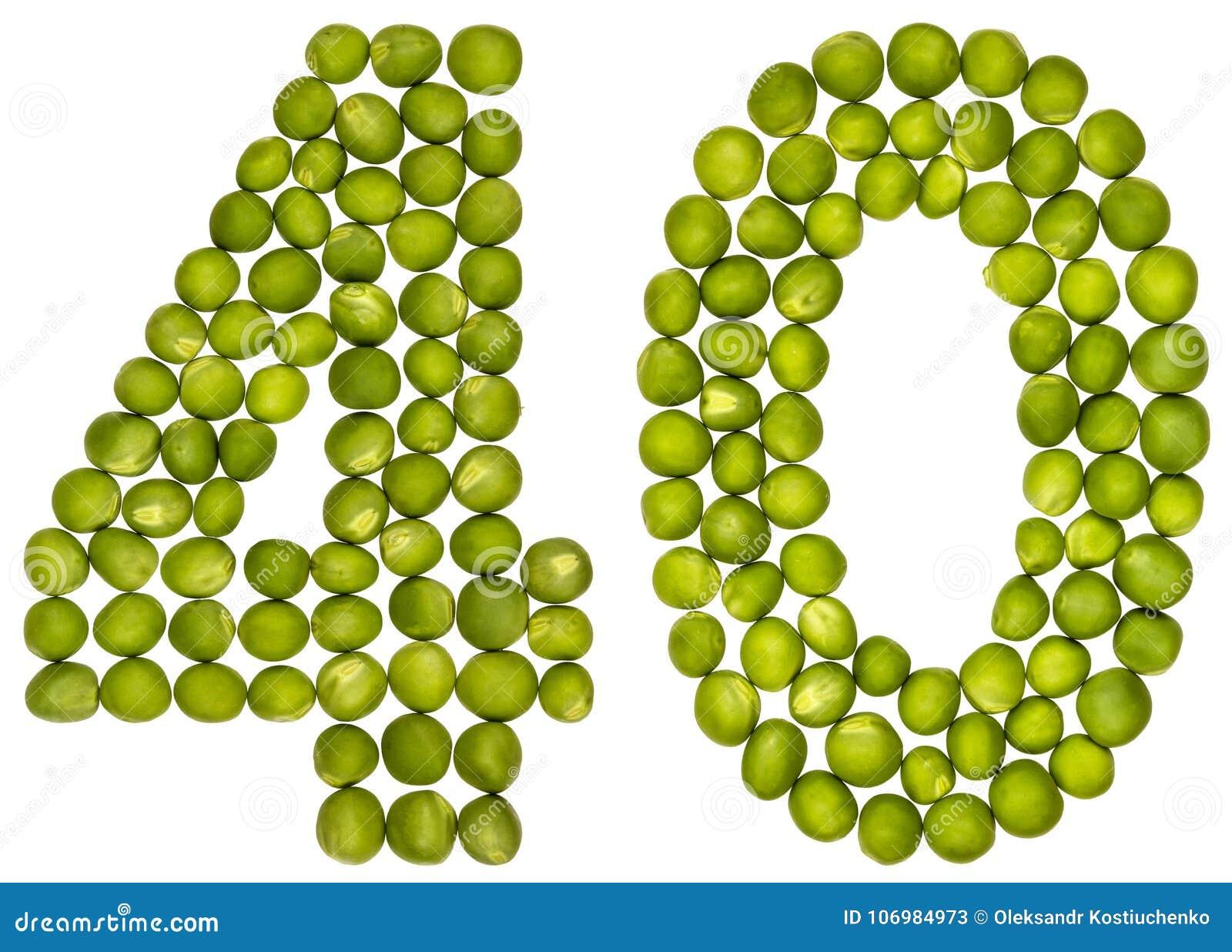 Numeral árabe 40, quarenta, das ervilhas verdes, isoladas no CCB branco