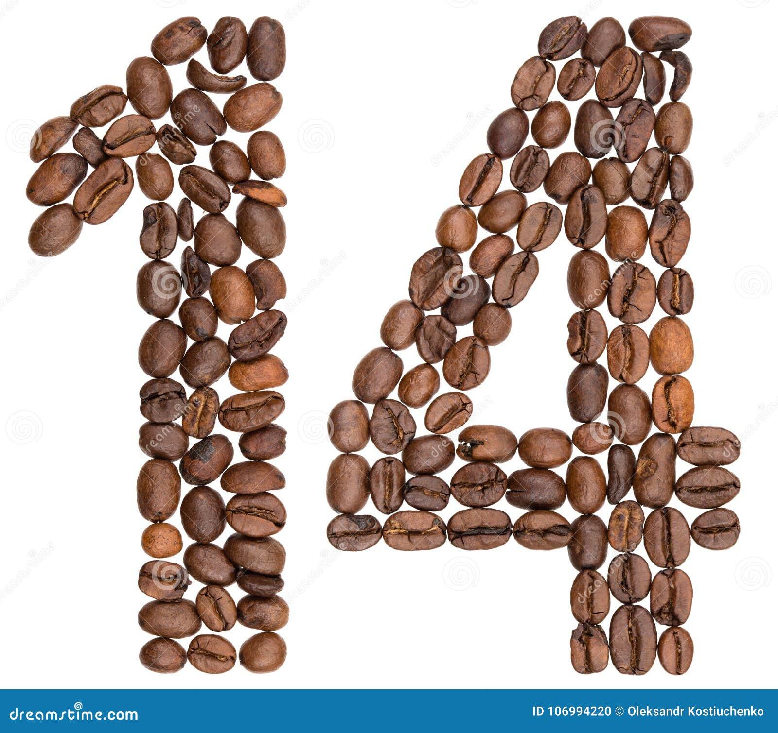 Numeral árabe 14, quatorze, dos feijões de café, isolados no whit