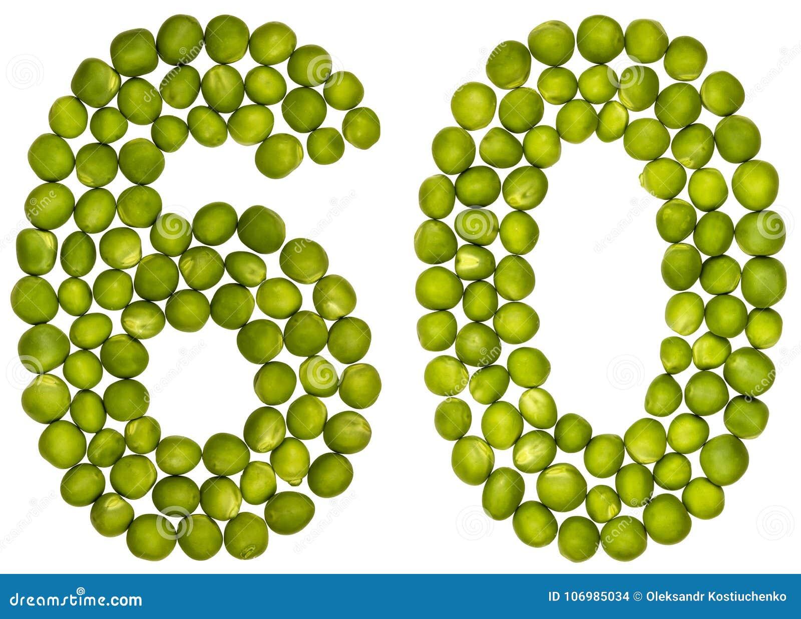 Numeral árabe 60, sessenta, das ervilhas verdes, isoladas no CCB branco