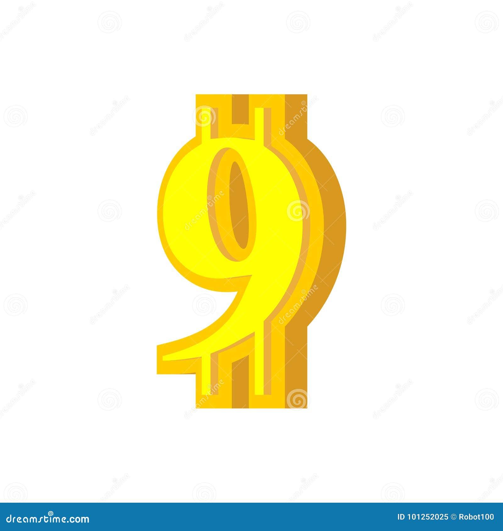 9 Numeral Bitcoin Font Nine Numeric Crypto Currency Alphabet L