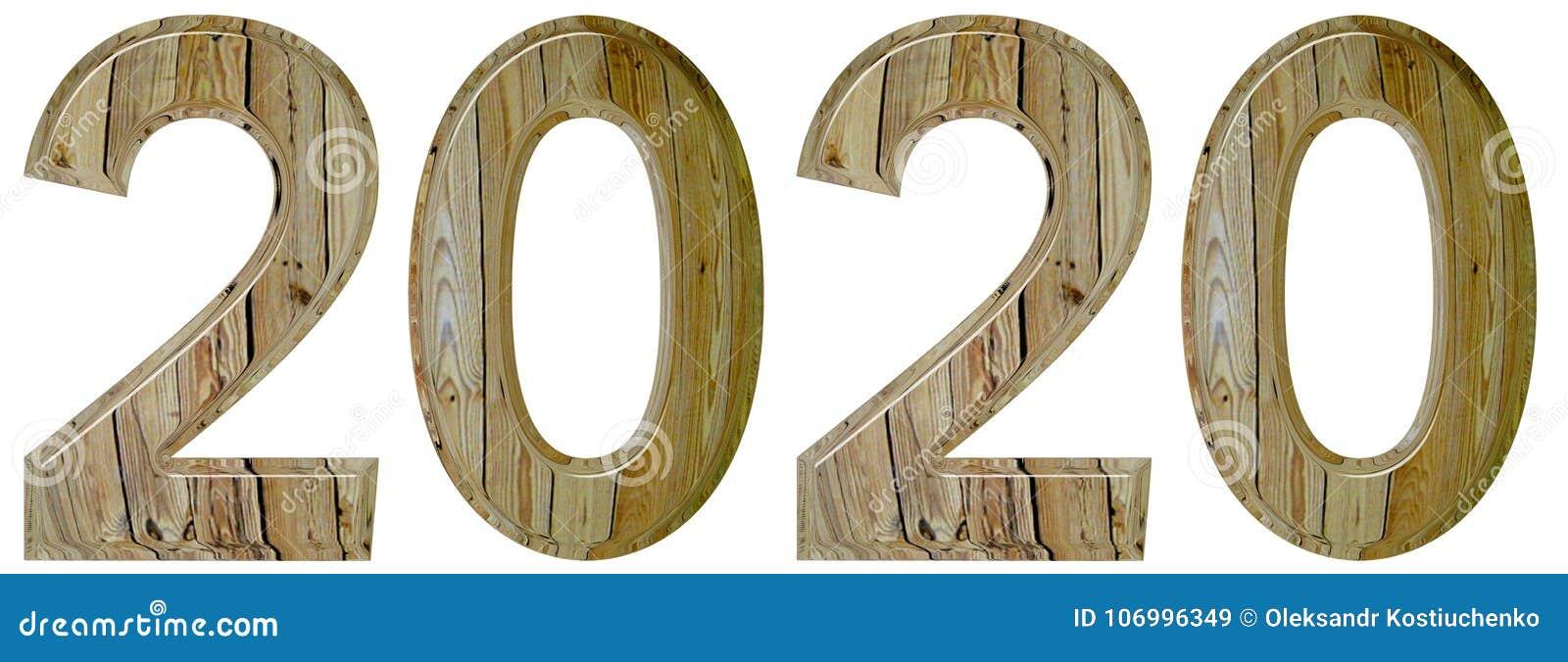 Numeral 2020 com um teste padrão abstrato de uma superfície de madeira, isola