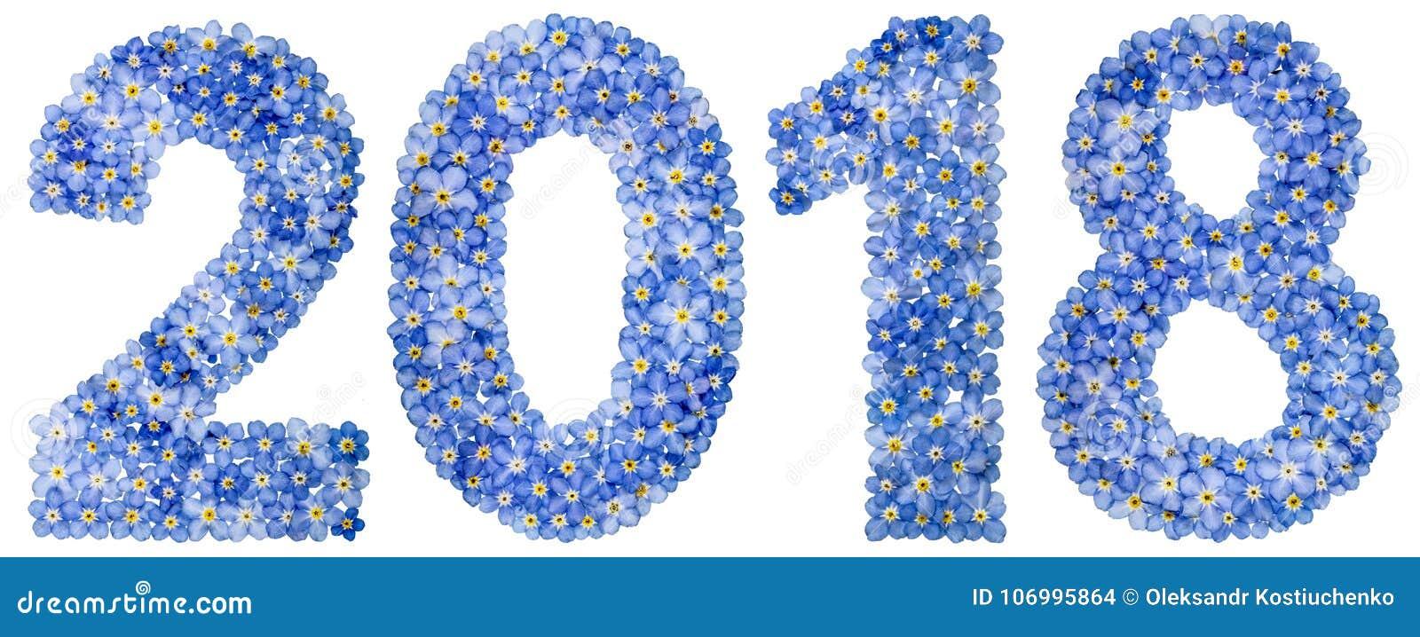 Numeral 2018 das flores azuis do miosótis, isoladas no branco