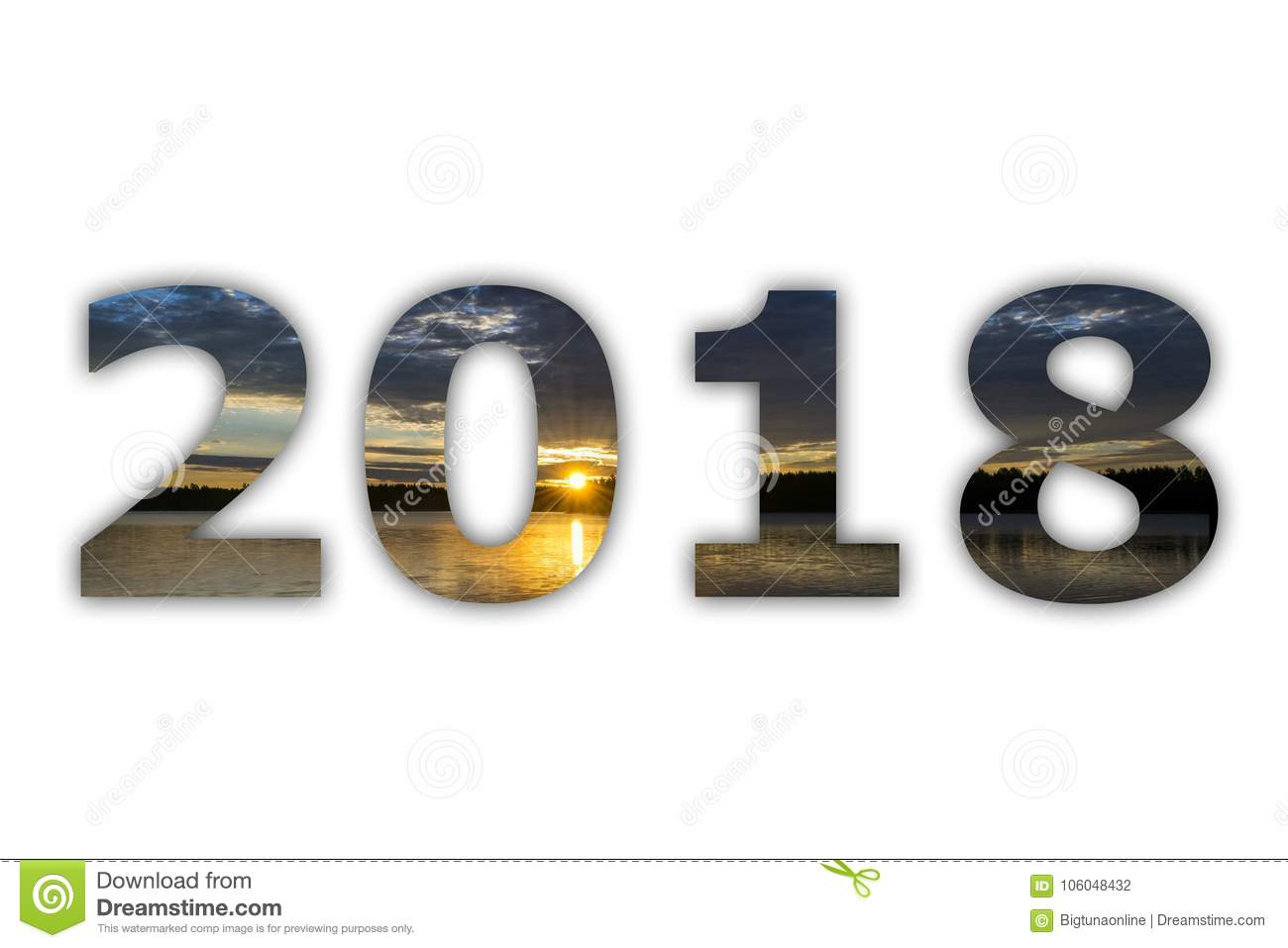 2018 numeral digits white panorama sky with sunrise on white background happy new year and christmas new year 2018 is coming concept