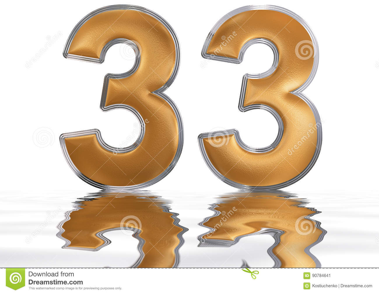 Number 33 free picture of the number thirty three - Numeral 33 Thirty Three Reflected On The Water Surface Isolat Stock Illustration
