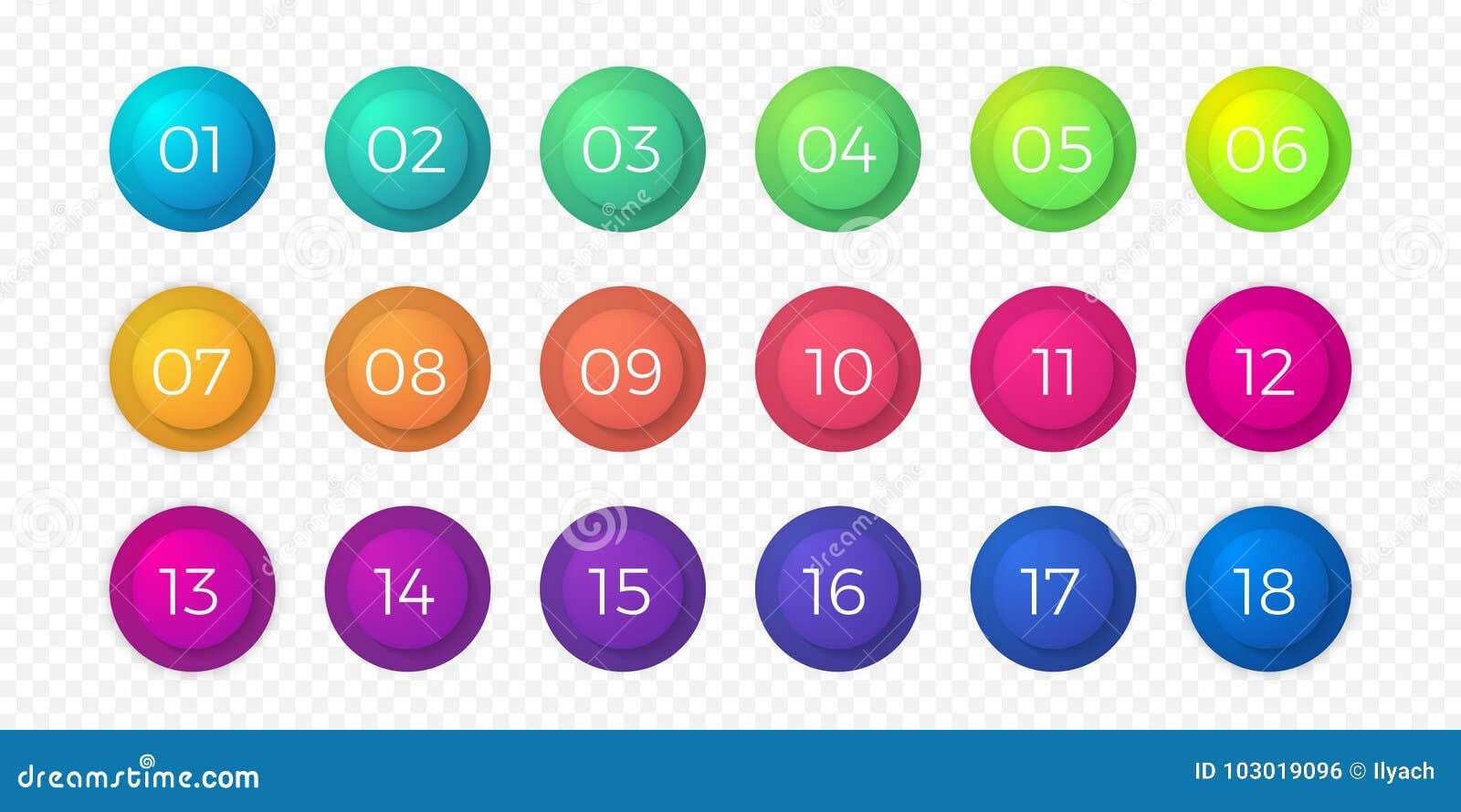 Numere los iconos planos del círculo del vector del botón del web de la pendiente del color del punto de bala