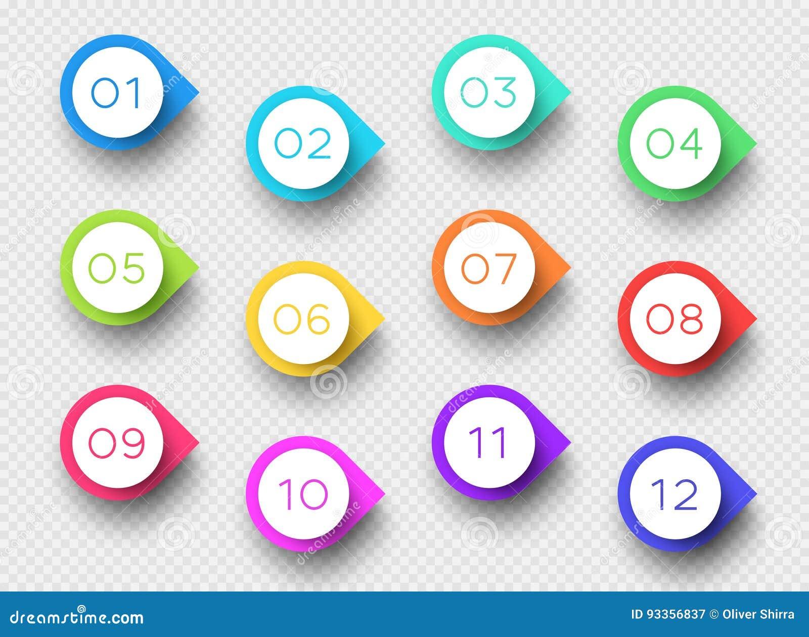 Numere a los marcadores coloridos 3d 1 al vector 12 del punto de bala