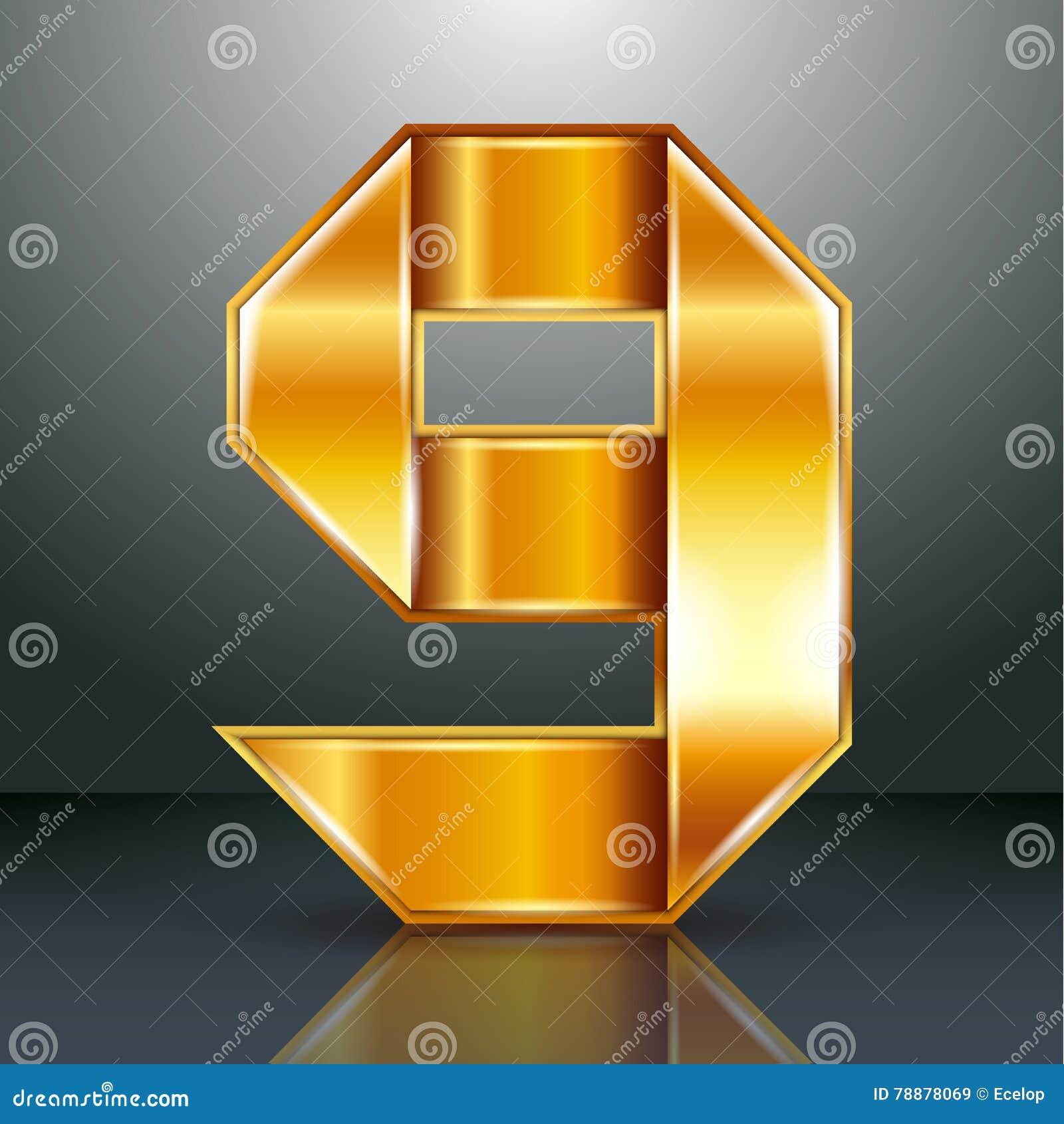 Numeri il nastro dell oro del metallo - 9 - nove