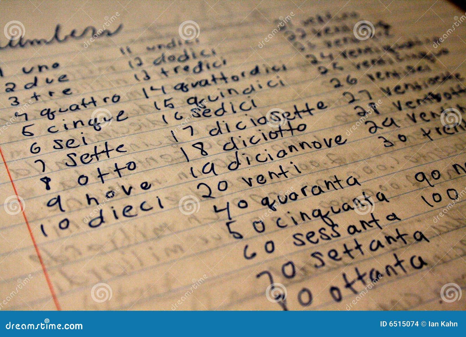 Di carta del taccuino con le parole dell'italiano per vari numeri
