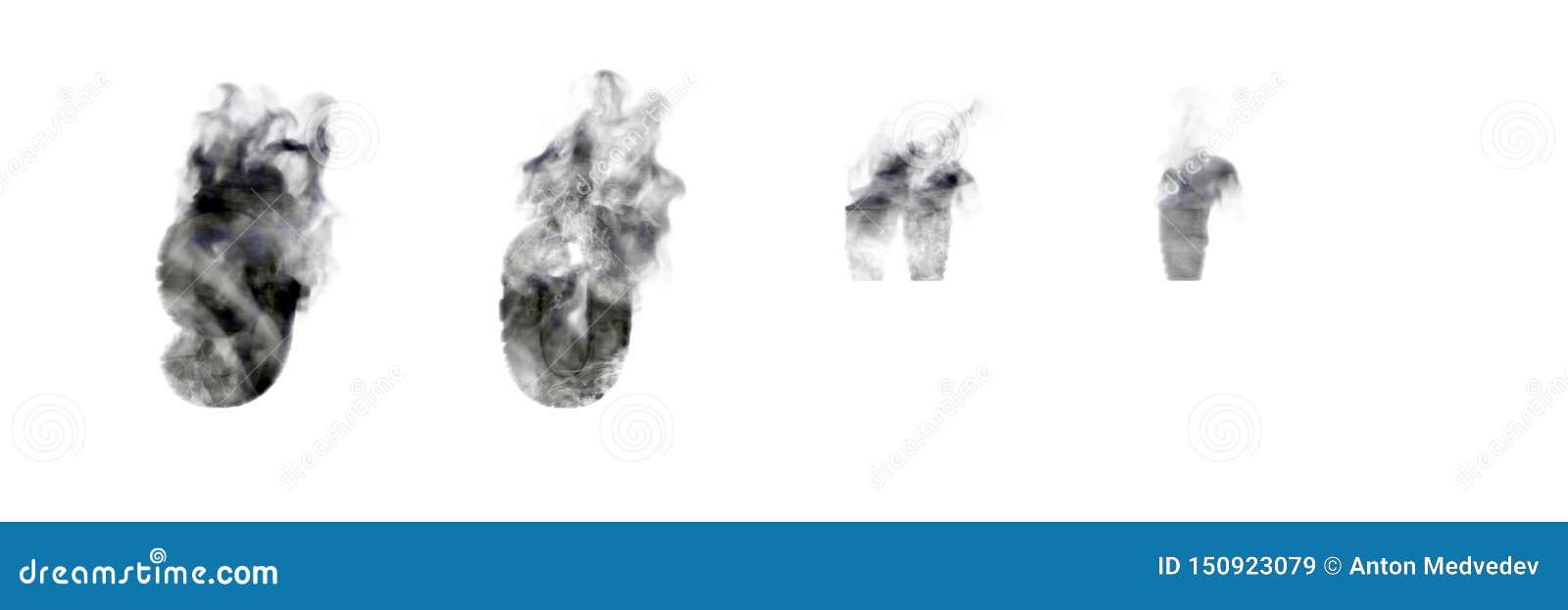 Numeri scuri 9 e 0 del fumo, apostrofo e segni di citazioni isolati su fondo bianco, sul disastro o sull alfabeto magico di conce
