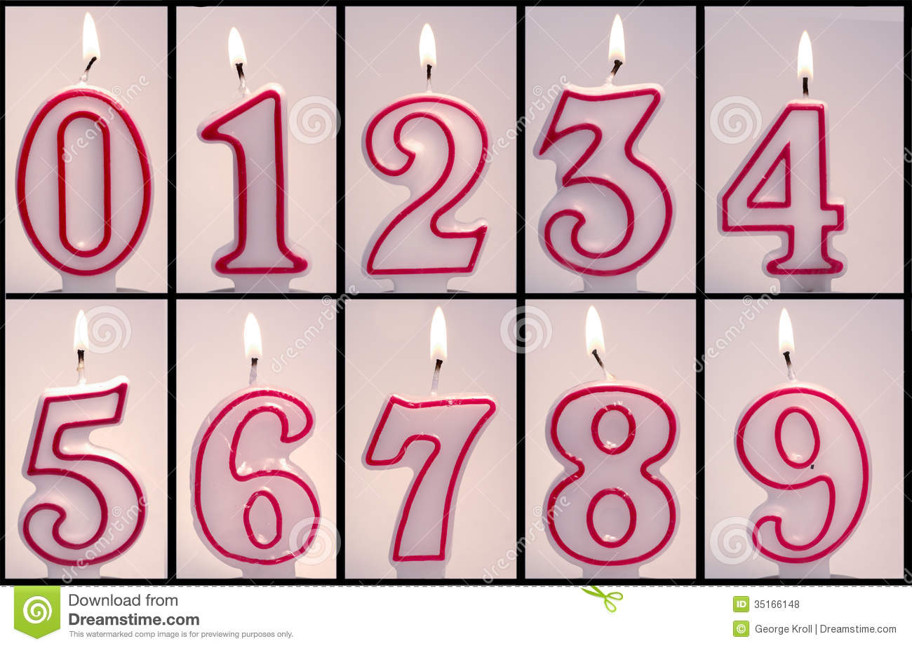Numeric Birthday Candles Lit Royalty Free Stock s Image
