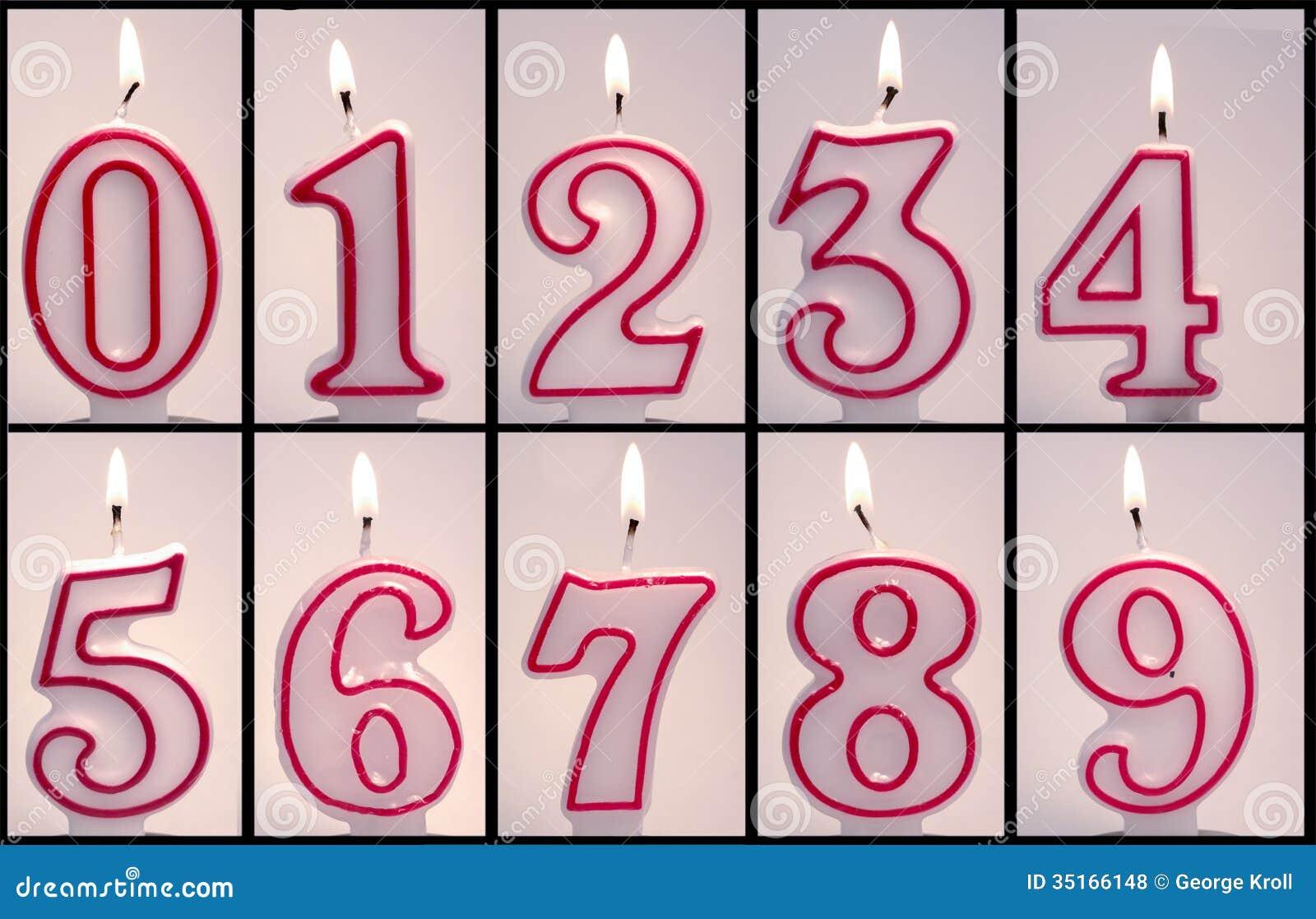 Numeric Birthday Candles Lit Royalty Free Stock Photos