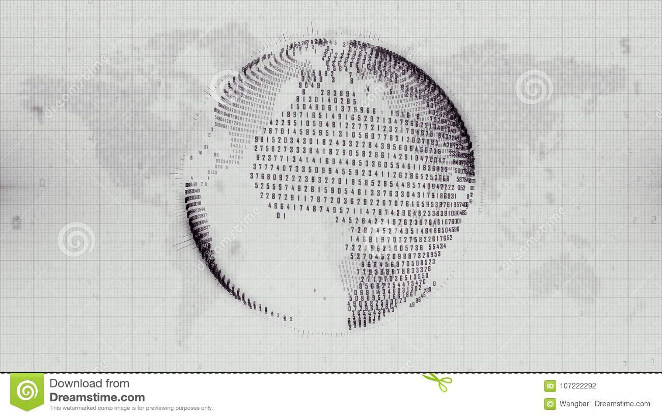Numerical Earth - globe formed from data on Earth map background