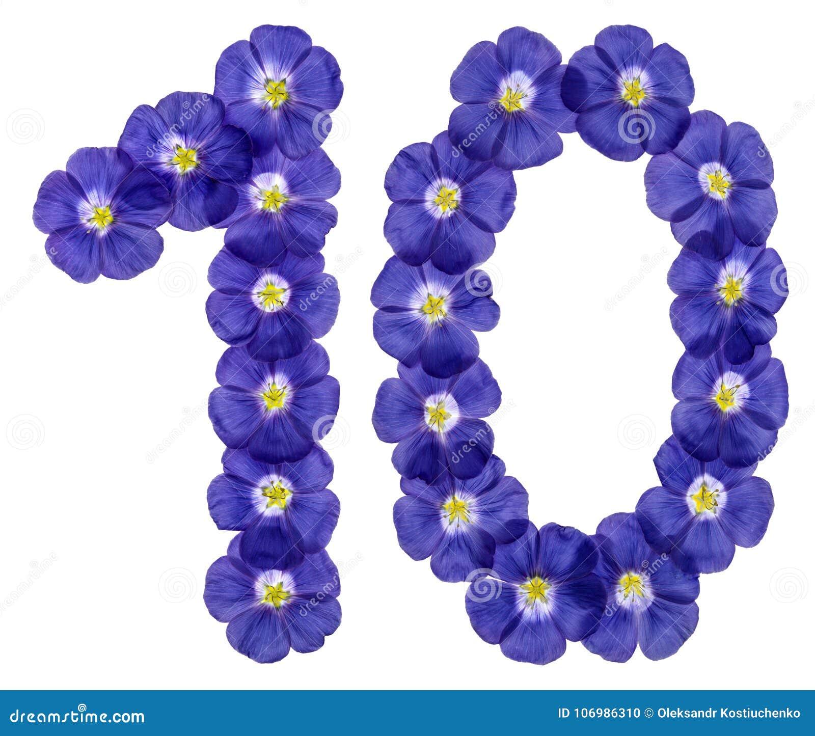 Numero arabo 10, dieci, dai fiori blu di lino, isolati su w