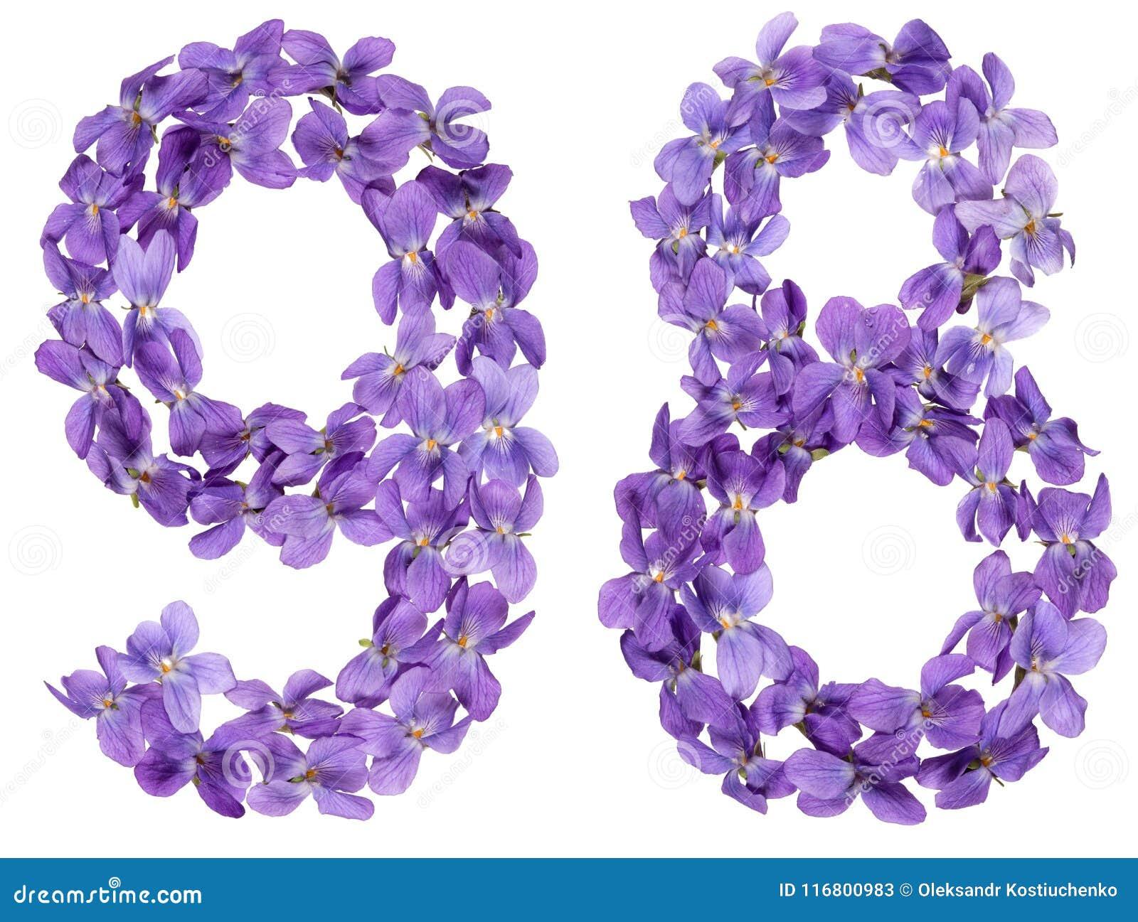 Numero arabo 98, novantotto, dai fiori della viola, isolati