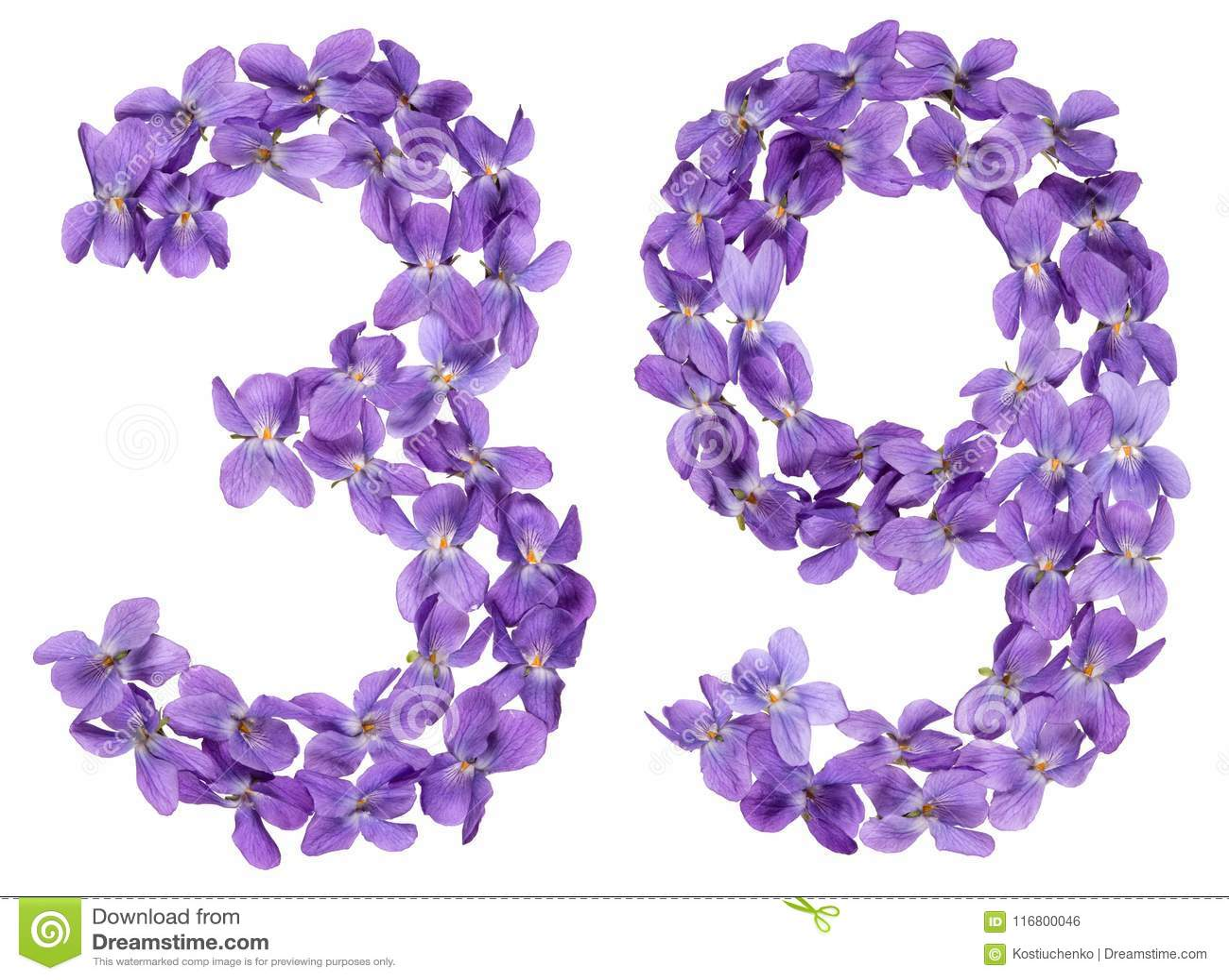 Numero arabo 39, trentanove, dai fiori della viola, isolati