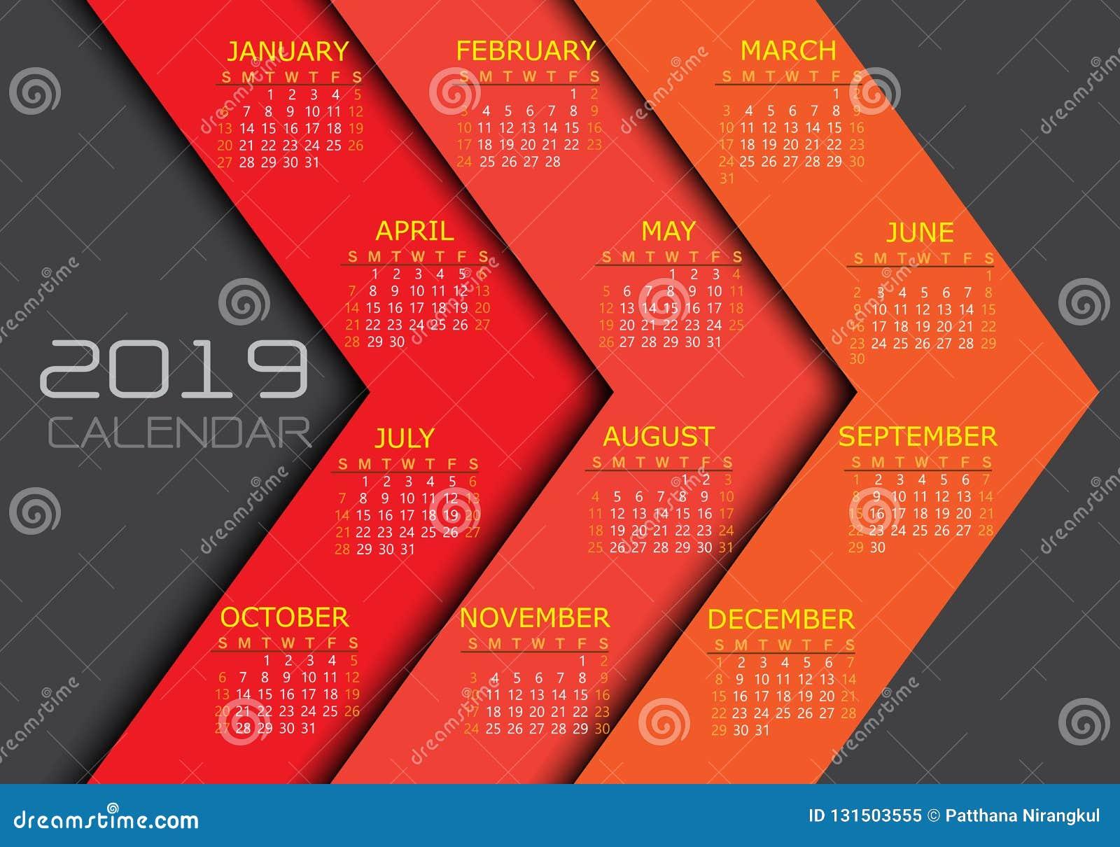 Calendario 2019 Moderno.Numero Bianco Giallo Del Testo Del Calendario 2019 Sul