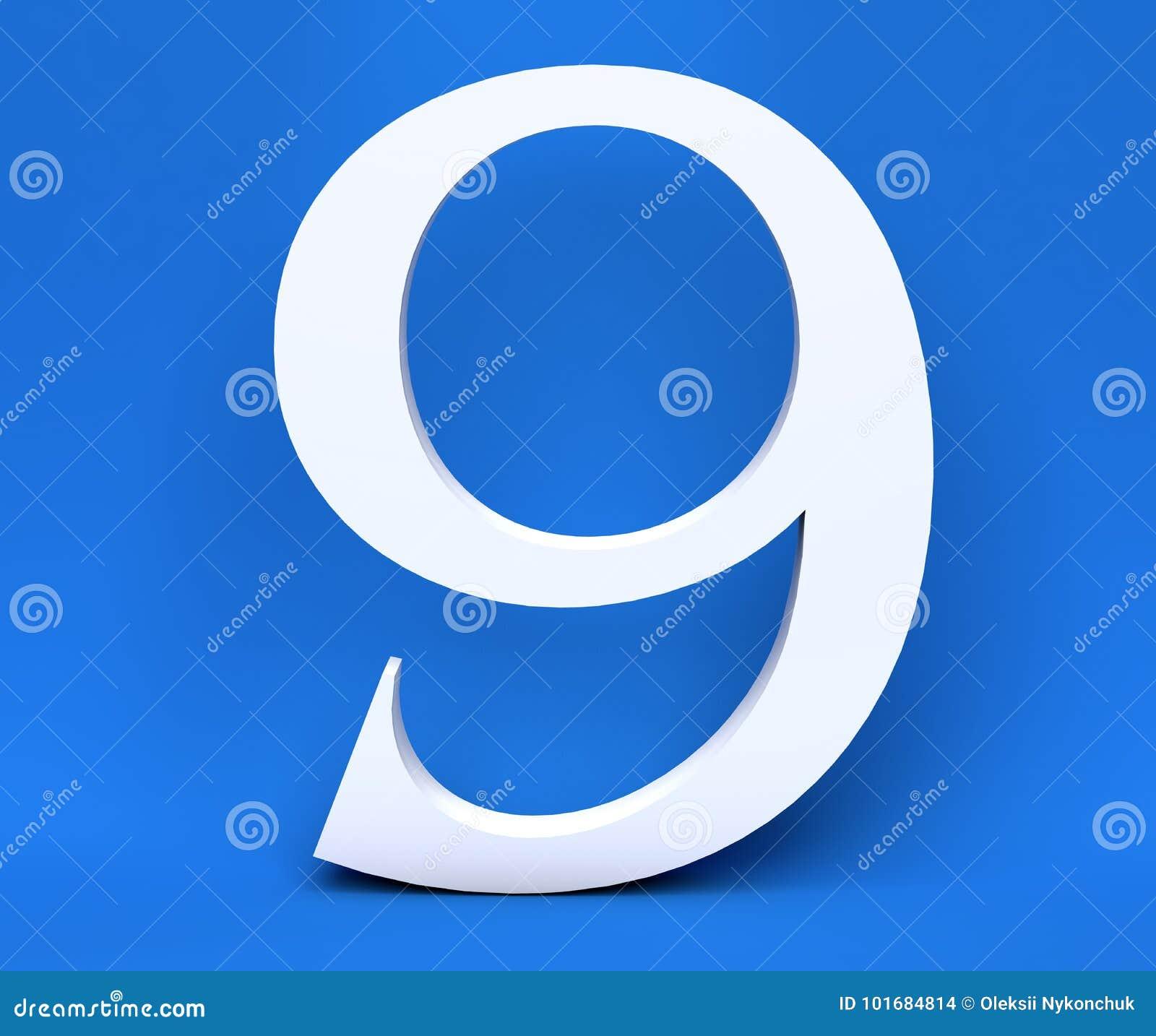 Numero bianco 9 nove su un fondo blu 3d rendono