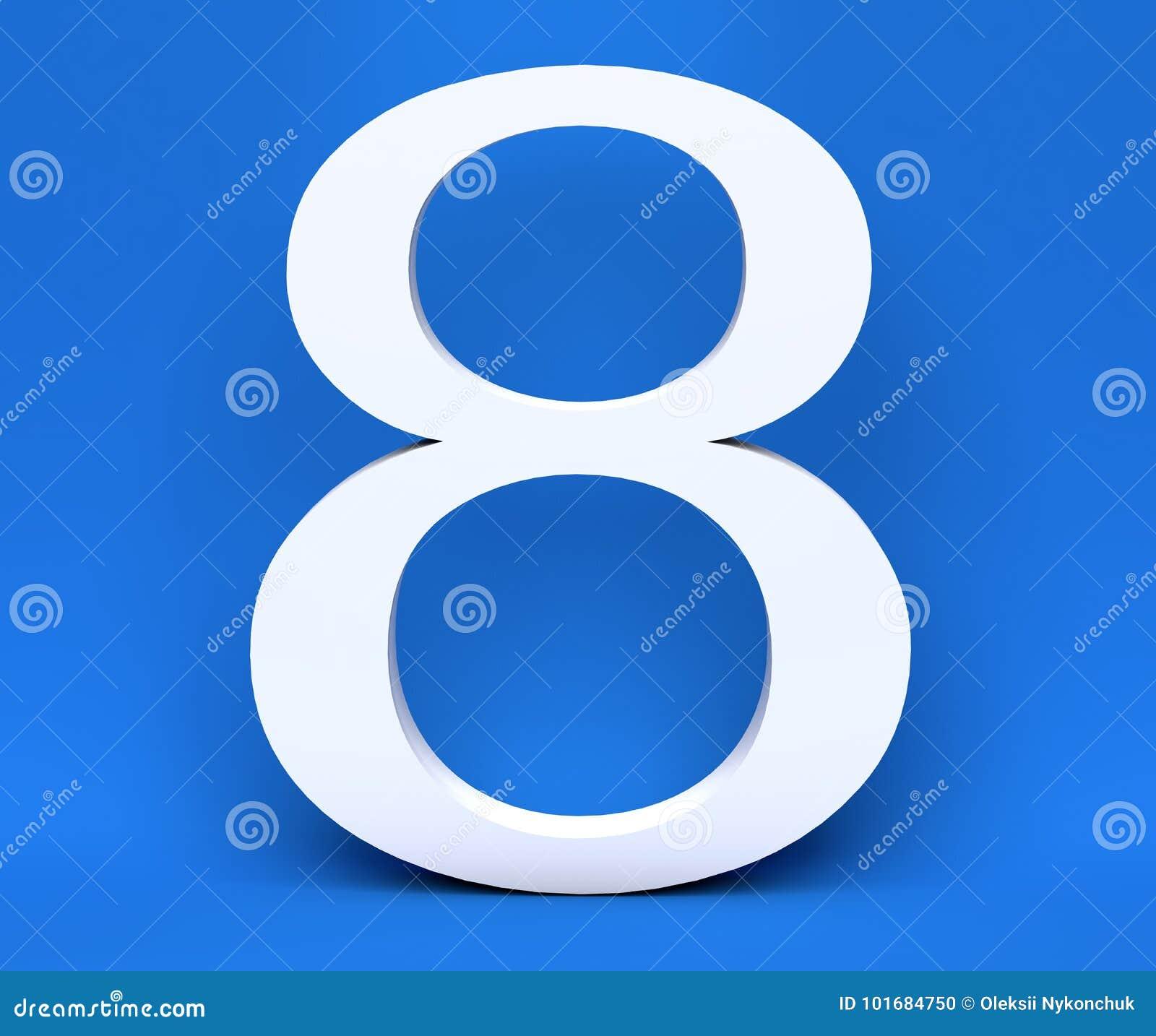 Numero bianco 8 otto su un fondo blu 3d rendono