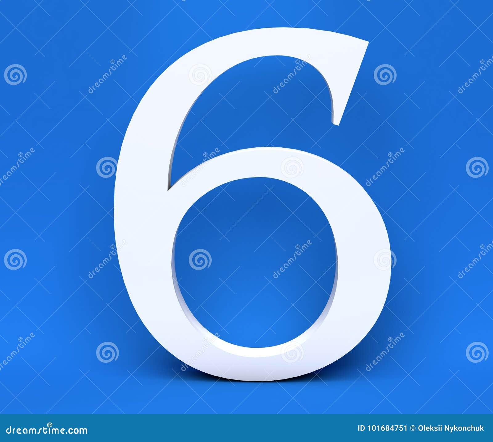 Numero bianco 6 sei su un fondo blu 3d rendono