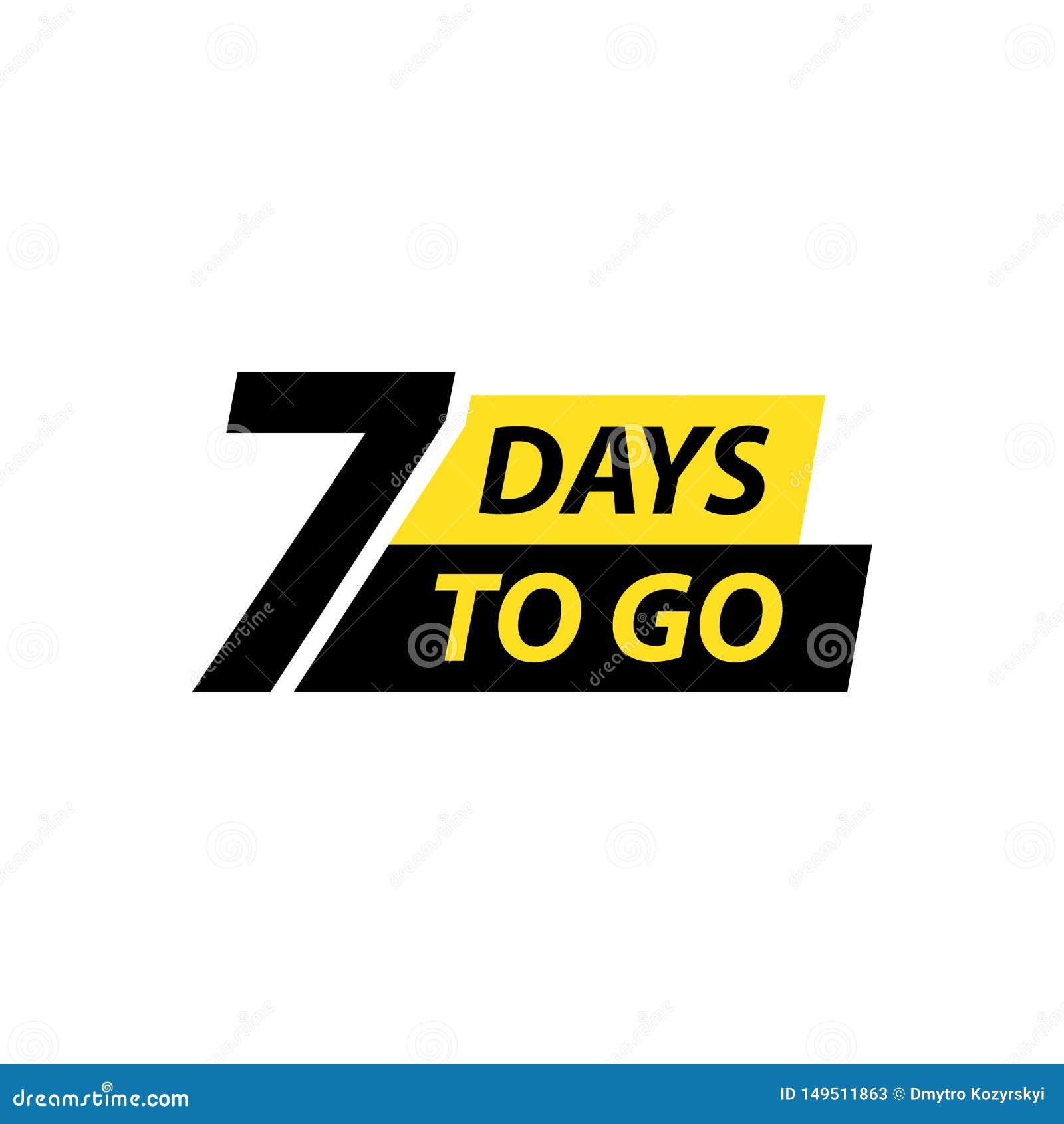 Numero 7 dei giorni da andare Vendita dei distintivi della raccolta, pagina d atterraggio, insegna Illustrazione di vettore