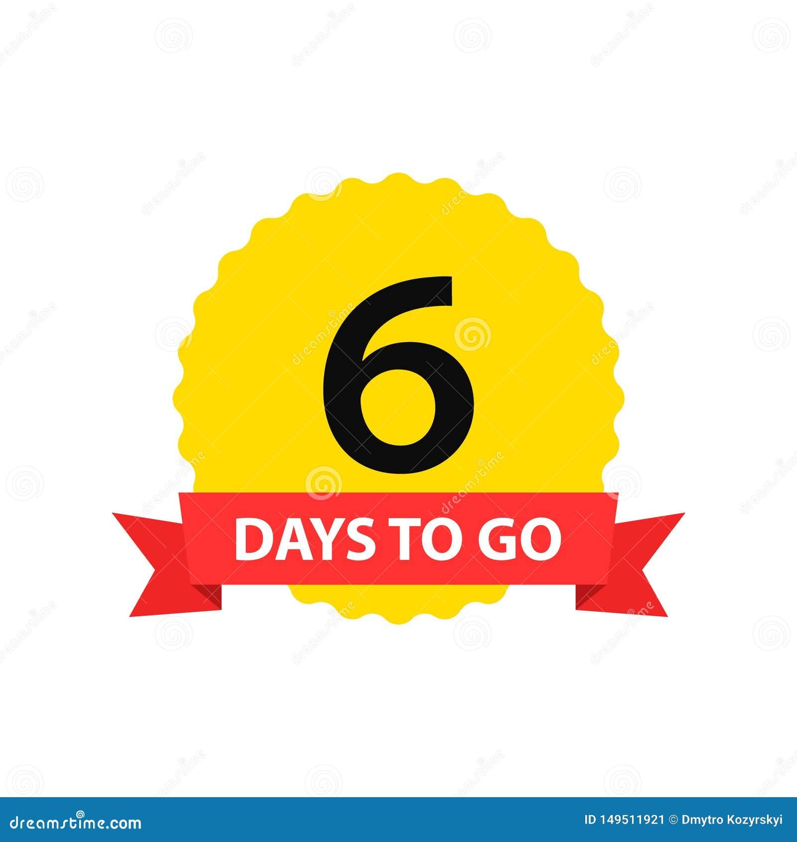 Numero 6 dei giorni da andare Vendita dei distintivi della raccolta, pagina d atterraggio, insegna Illustrazione di vettore