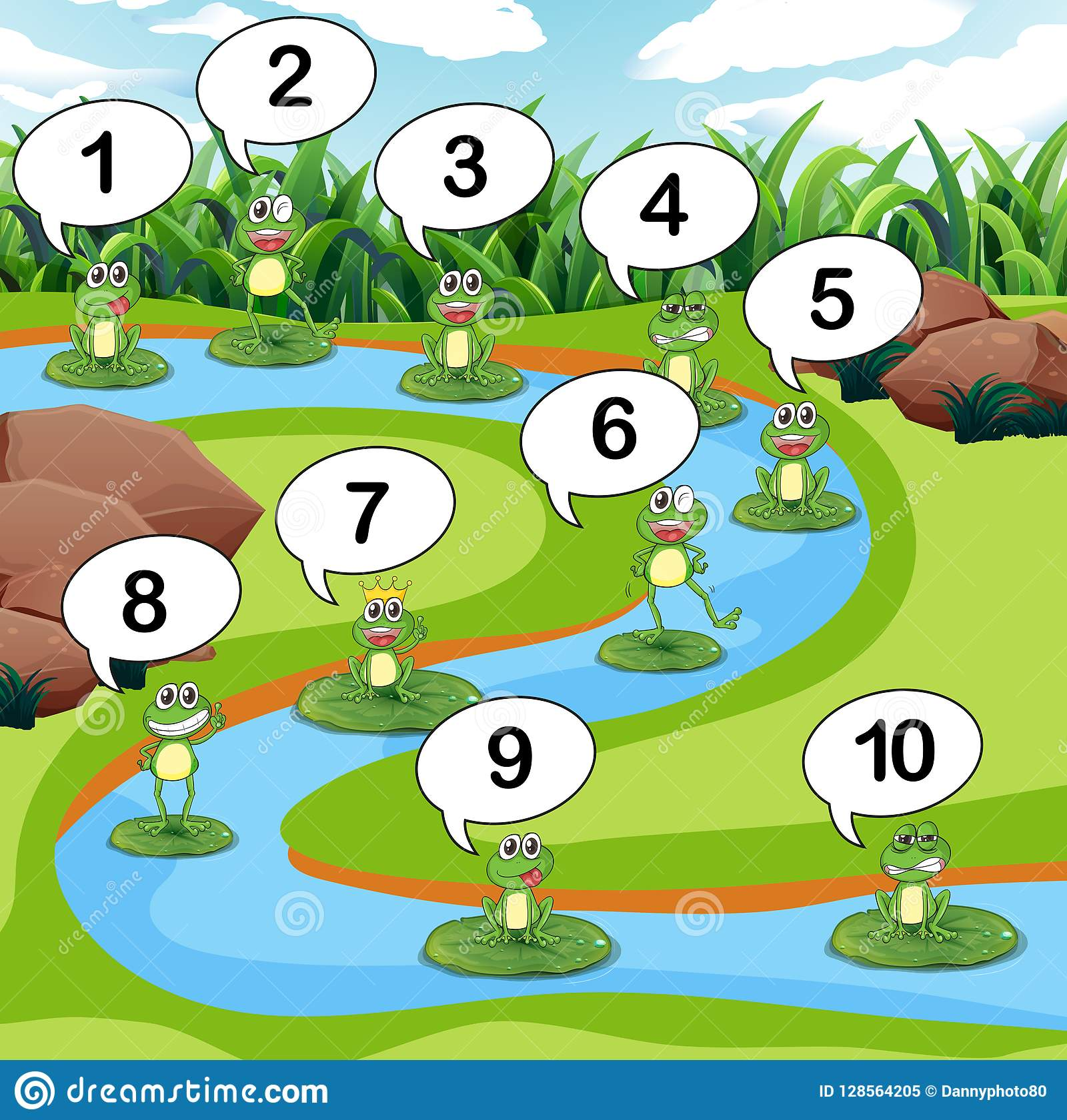 Numero di conteggio della rana allo stagno