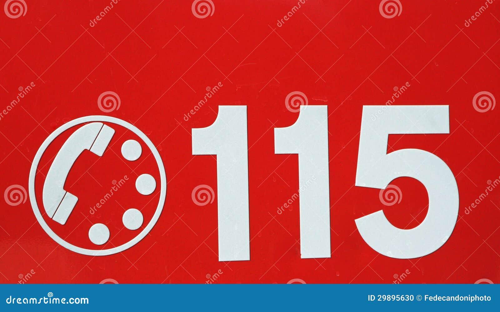 Numero di telefono 115 su fondo rosso dei vigili del fuoco - Numero di telefono piscina ortacesus ...