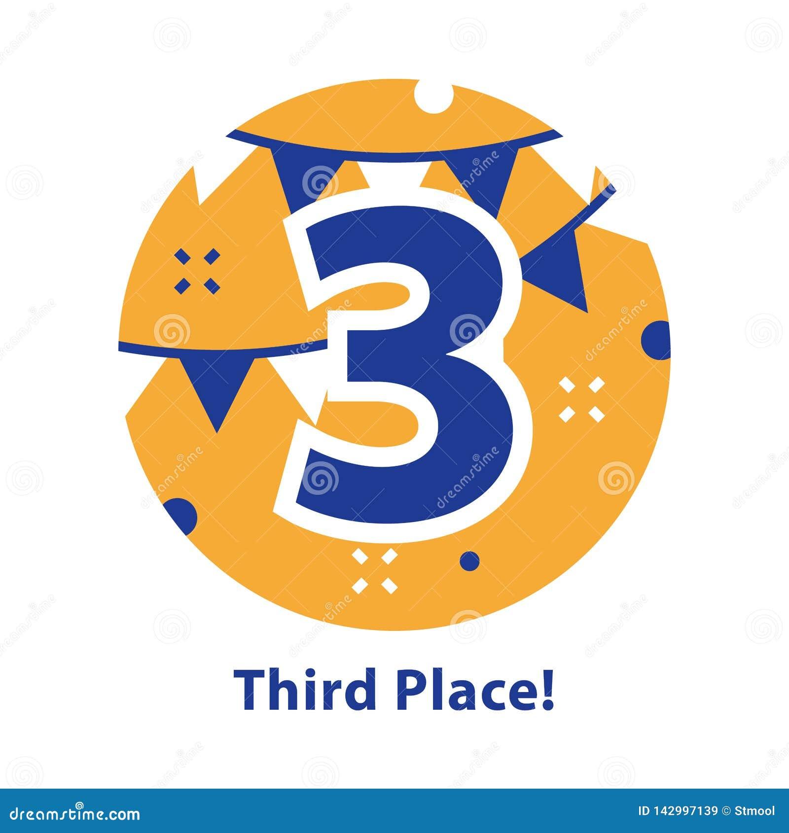 Nummer drie, derde plaats, toekenningsceremonie, het vieren gebeurtenis, succesvolle verwezenlijking