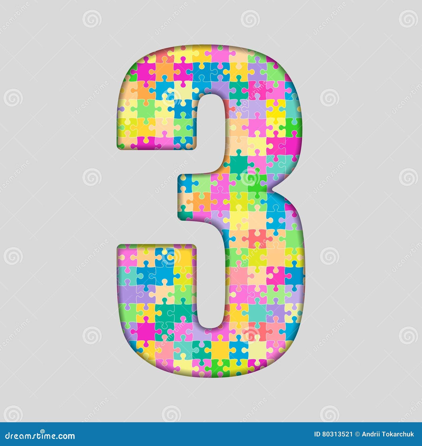 Nummer för styckpusselfigursåg - 3 tre