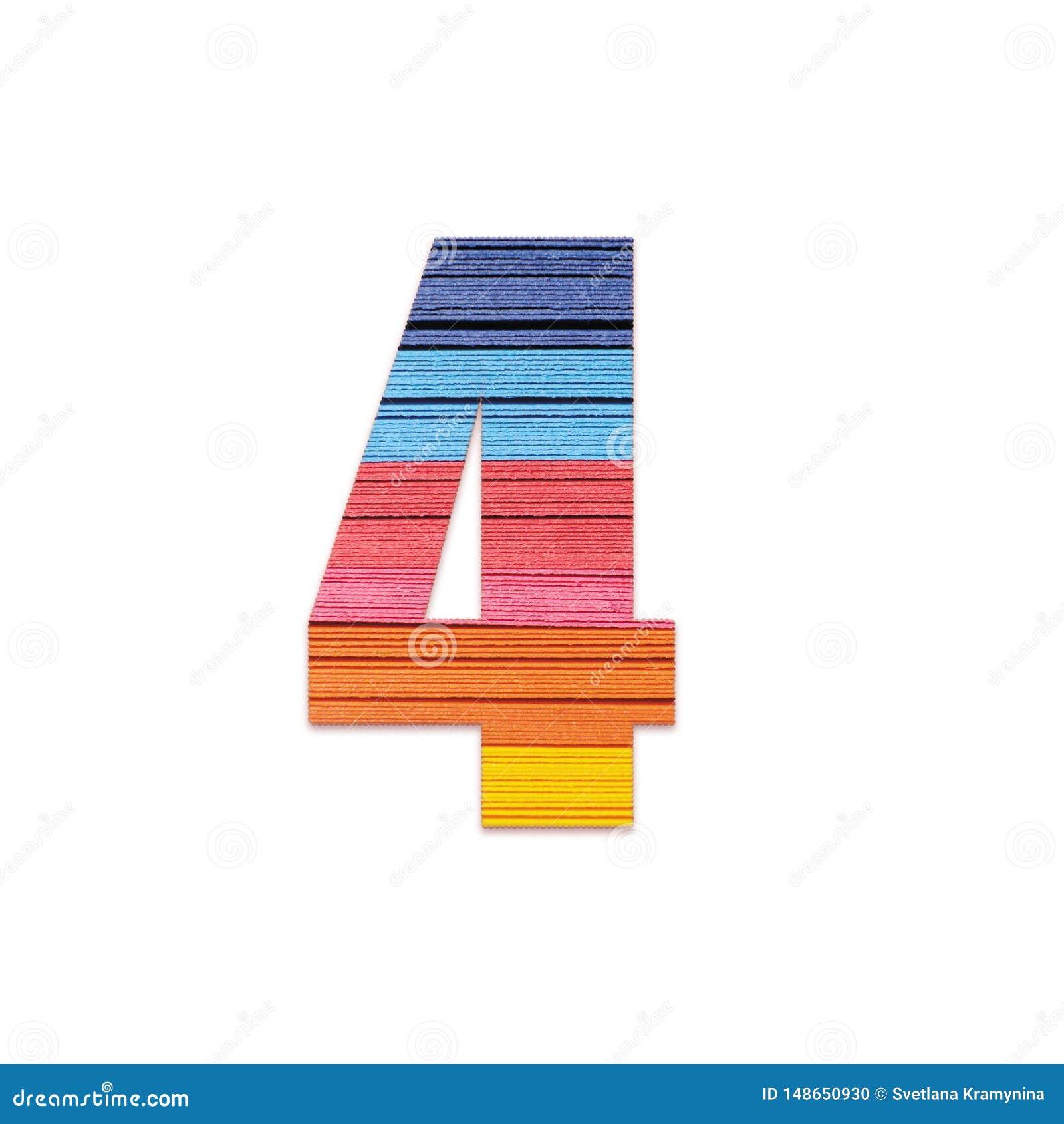 Nummer 4 Het document van de regenboogkleur