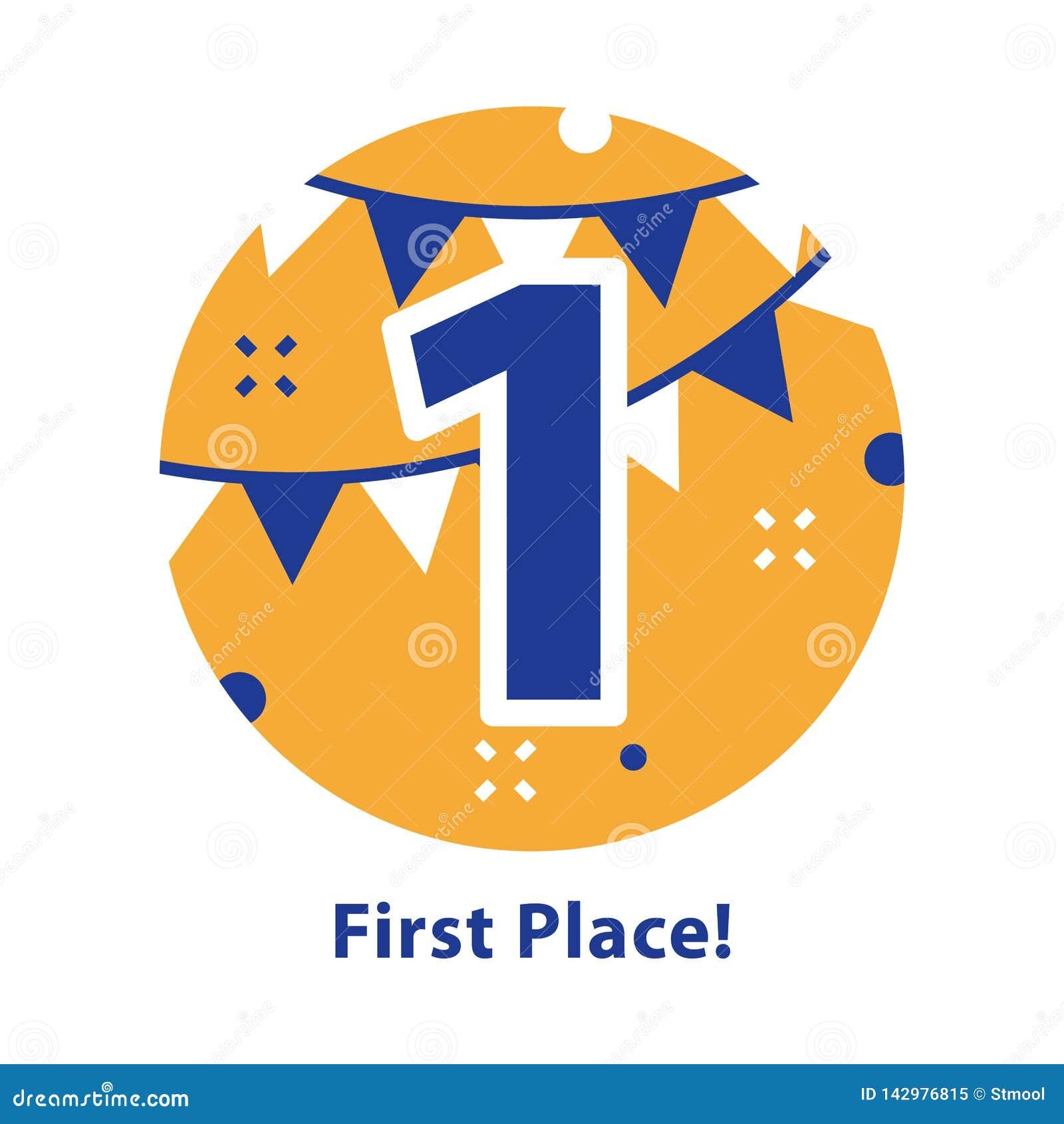 Nummer ??n, eerste plaats, toekenningsceremonie, het vieren gebeurtenis, succesvolle verwezenlijking