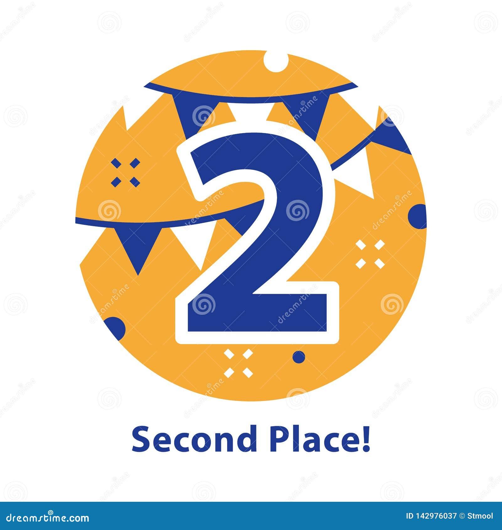 Nummer twee, tweede plaats, toekenningsceremonie, het vieren gebeurtenis, succesvolle verwezenlijking