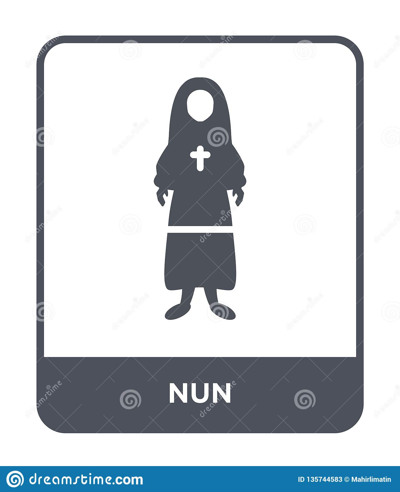 nun icon in trendy design style. nun icon isolated on white background. nun vector icon simple and modern flat symbol for web site