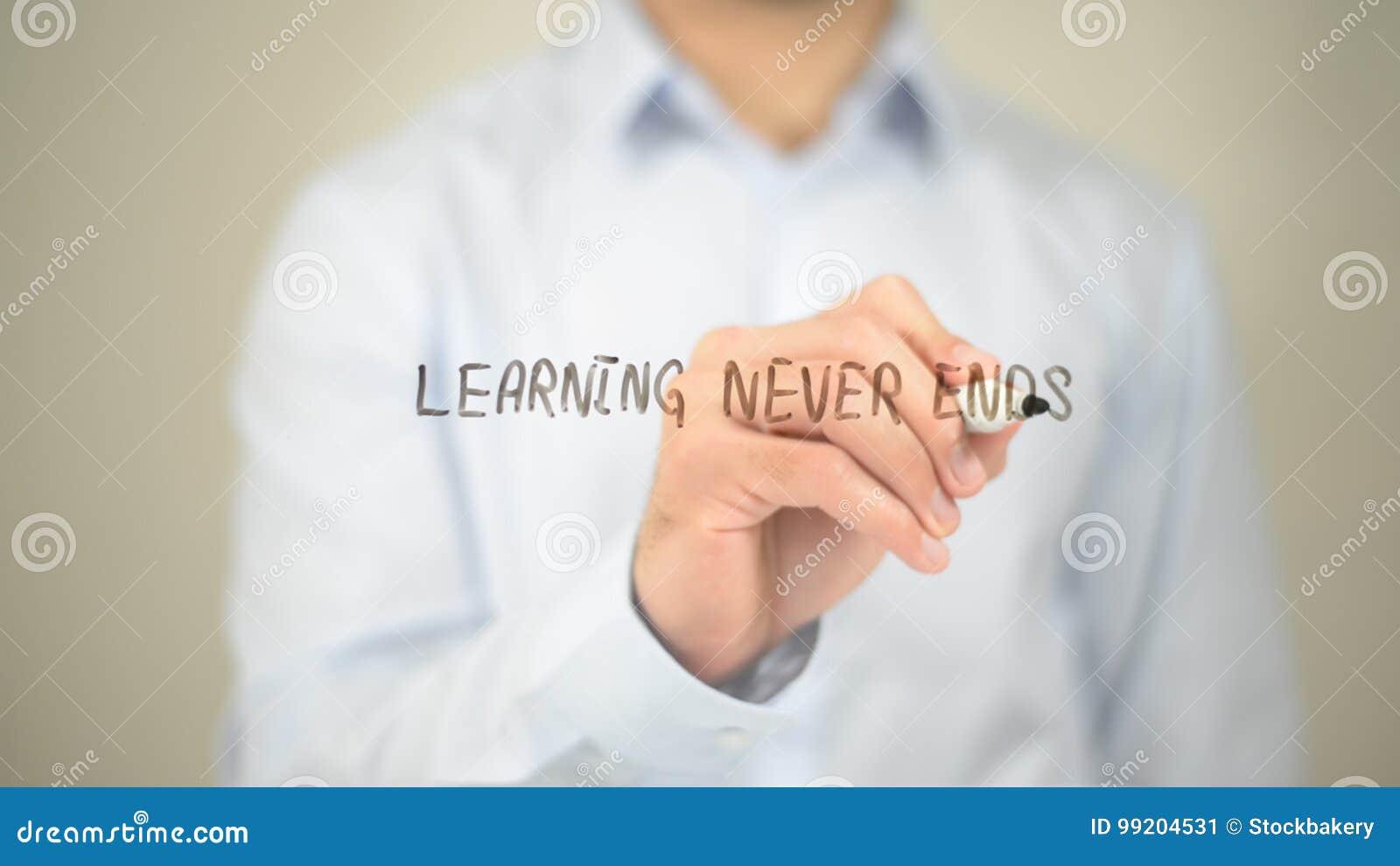 Nunca aprendizaje de extremos, escritura del hombre en la pantalla transparente
