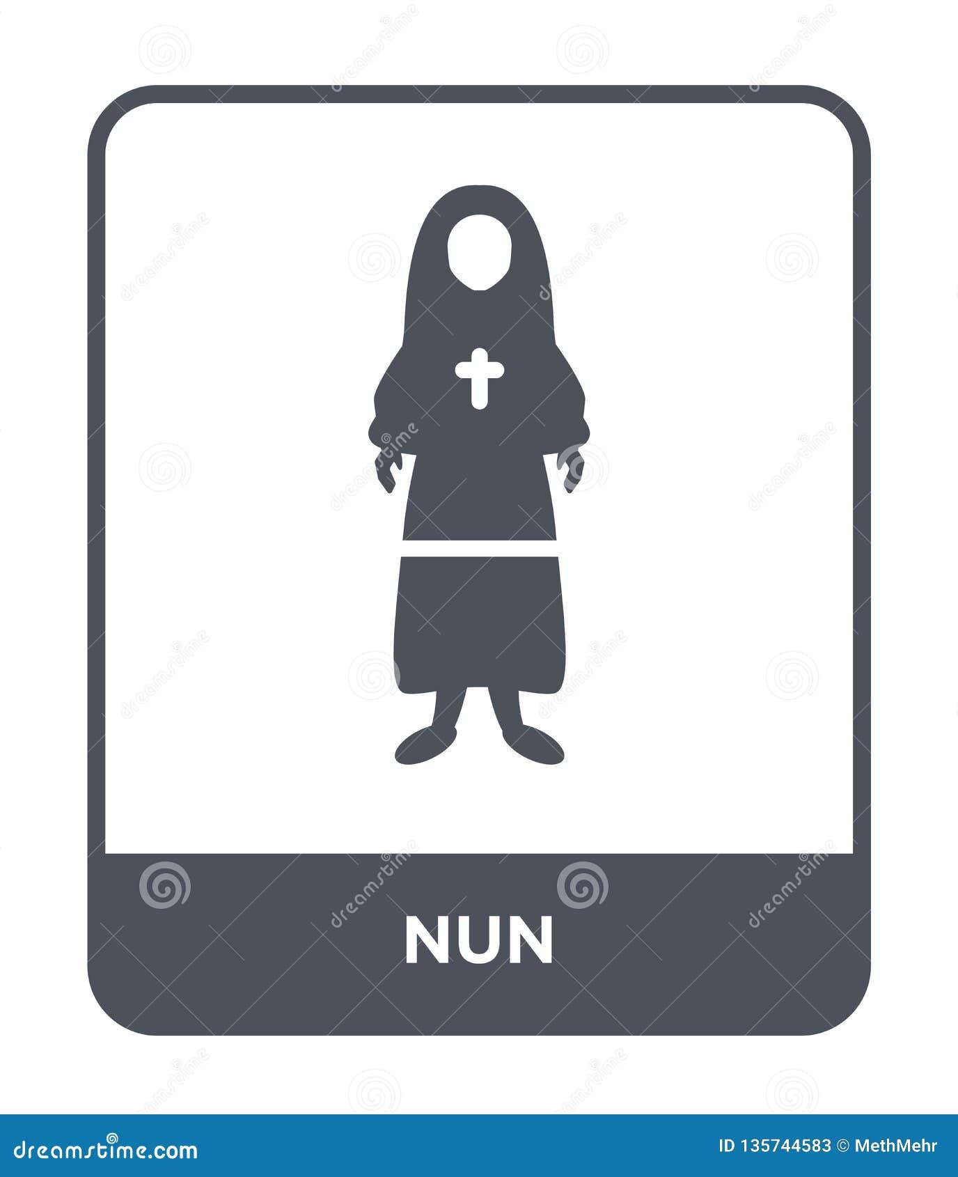 Nunnasymbol i moderiktig designstil Nunnasymbol som isoleras på vit bakgrund enkelt och modernt plant symbol för nunnavektorsymbo